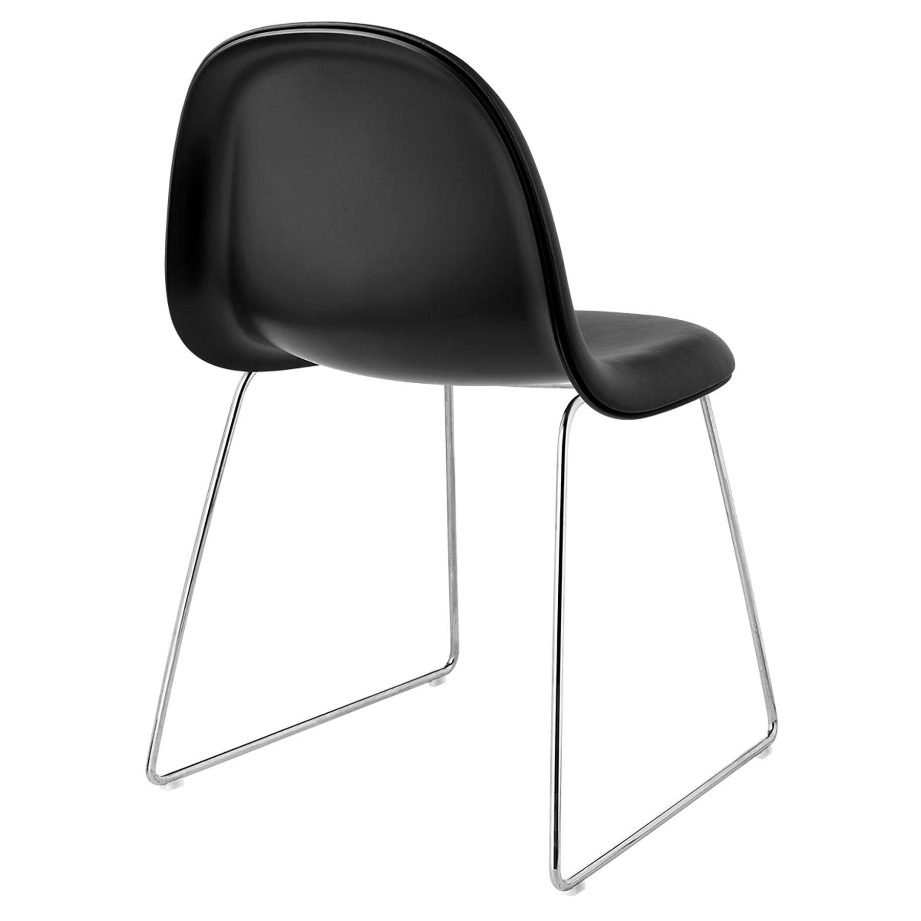 3D Dining Chair, Front Upholstered, Sledge base, Chrome
