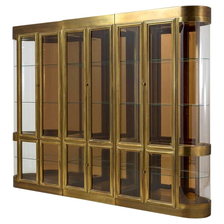 Three Part Mastercraft Designed Brass and Glass Display or Vitrine Cabinets