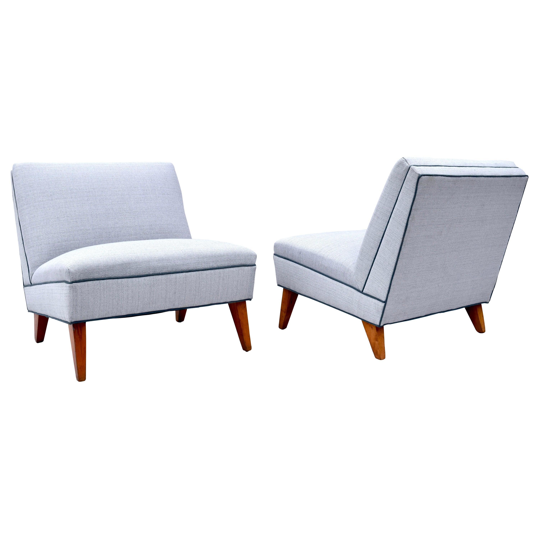 1950's Gilbert Rohde Design Art Deco Slipper Lounge Chairs, Loveseat