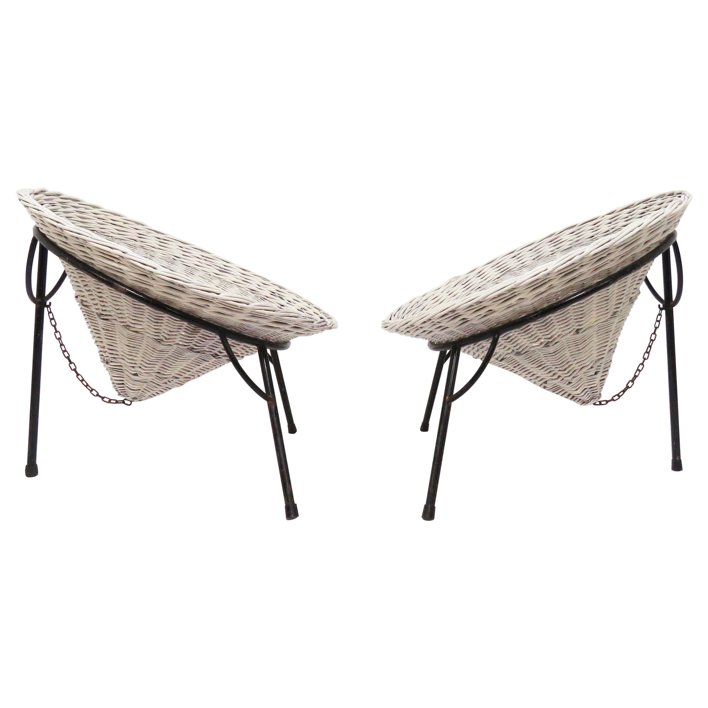 "Pair of Roberto Mango Wicker ""Sunflower"" Garden Chairs for Tecno, circa 1950s"