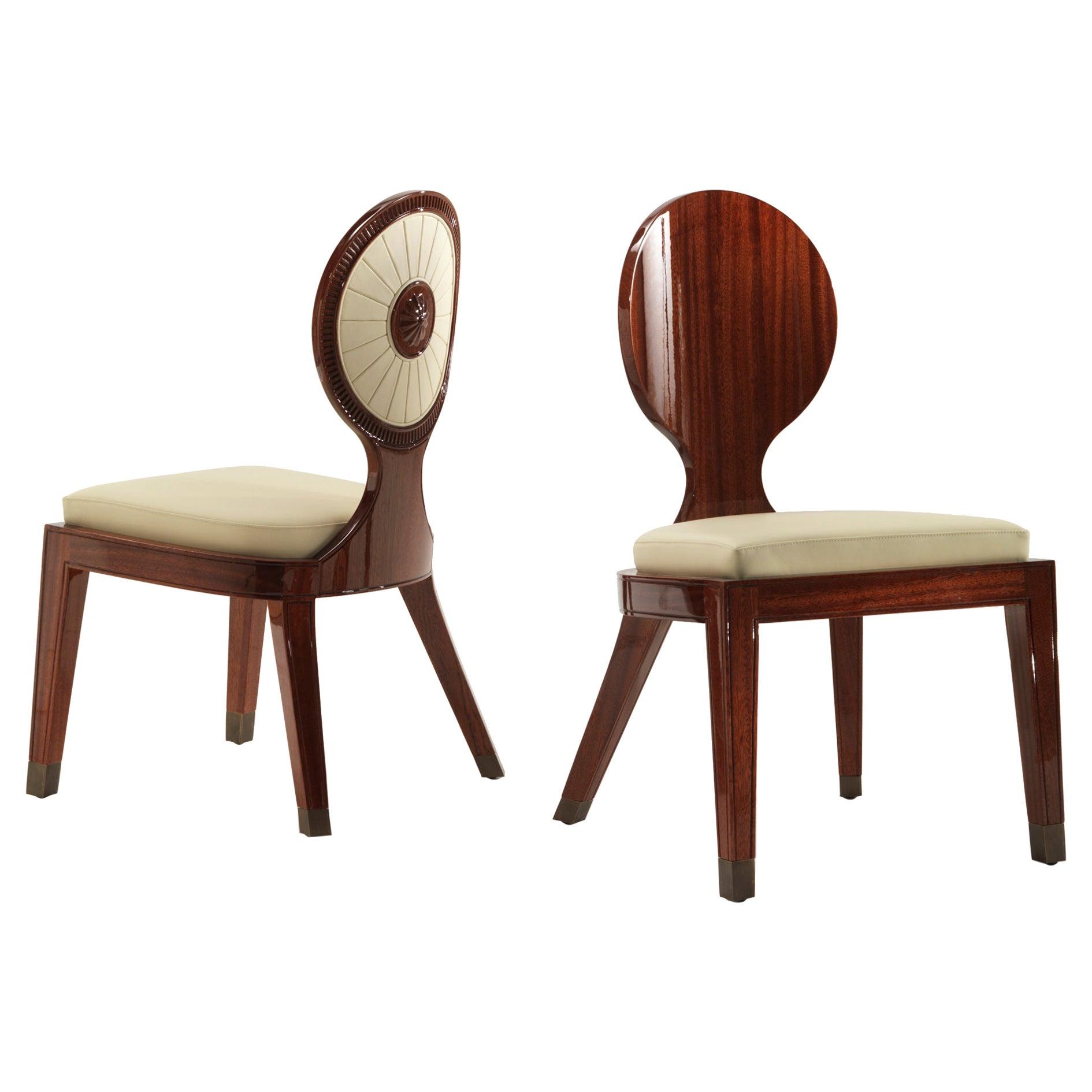 Moon & Sun Dining Chair in Shiny Mahogany Finish