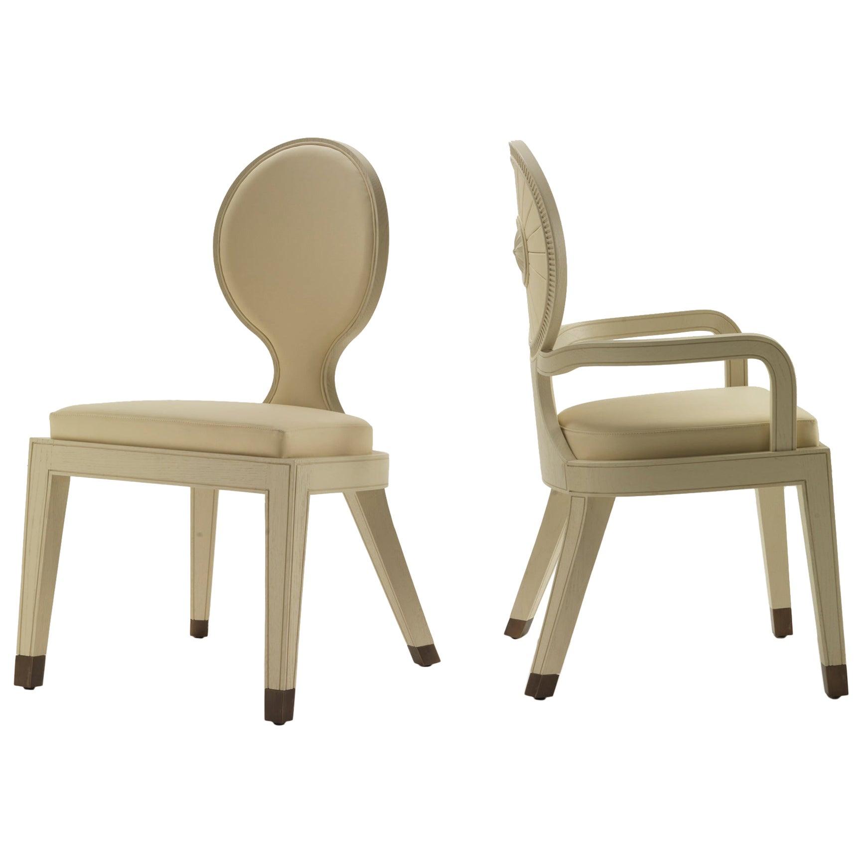 Moon & Sun Dining Chair in White Oak Finish