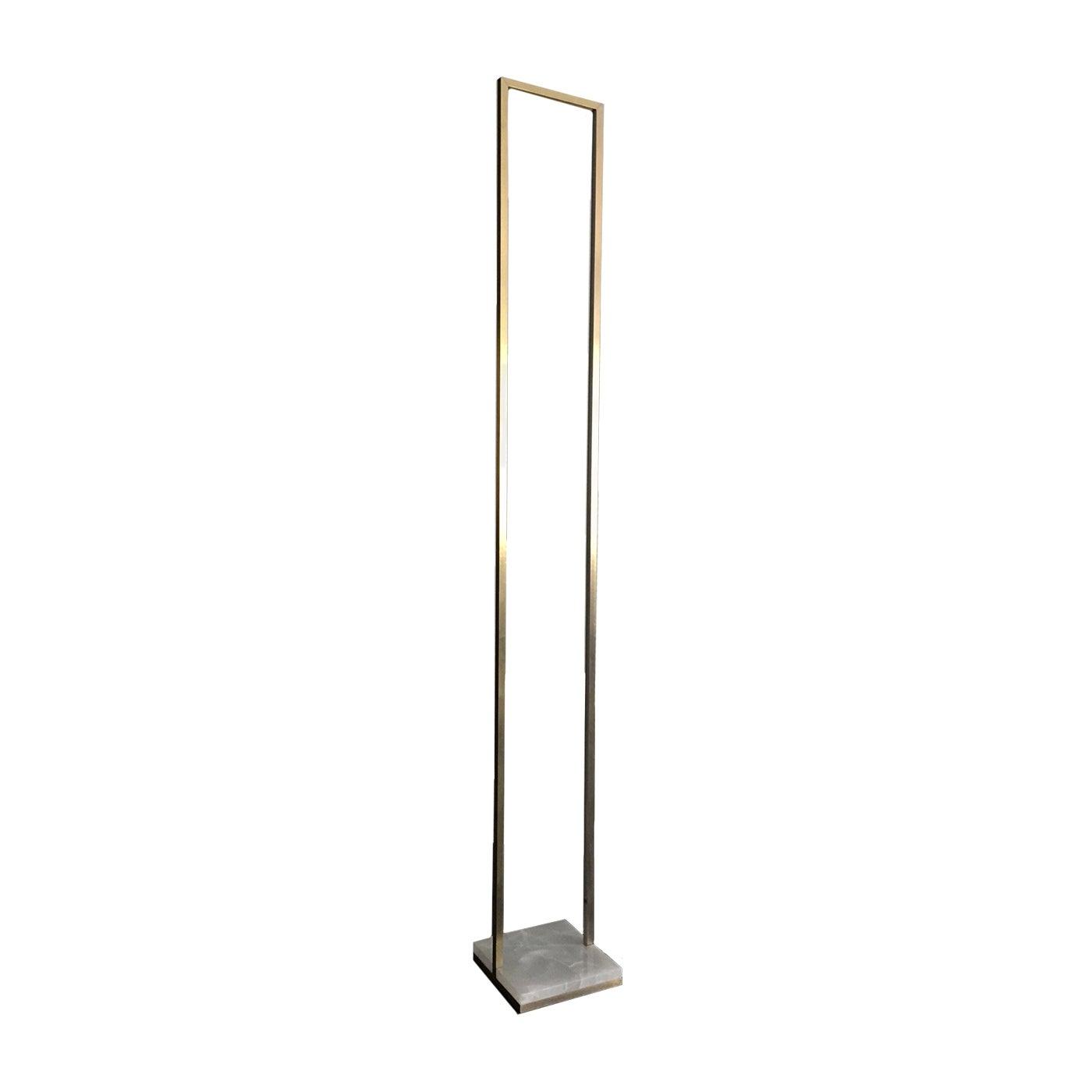 Floorframe Floor Lamp in Carrara Marble and Brass
