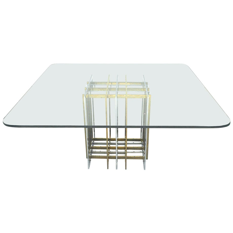 Romeo Rega Italian Midcentury 1970s Table in Brass Steel and Glass