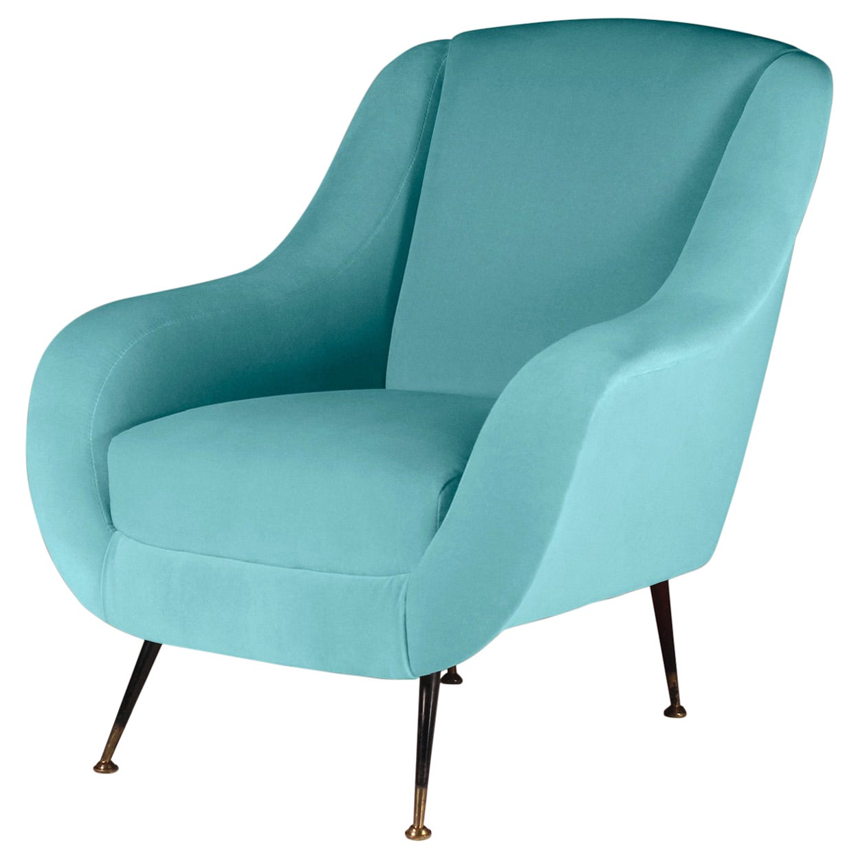 Midcentury Style Italian Lounge Chair in Turquoise