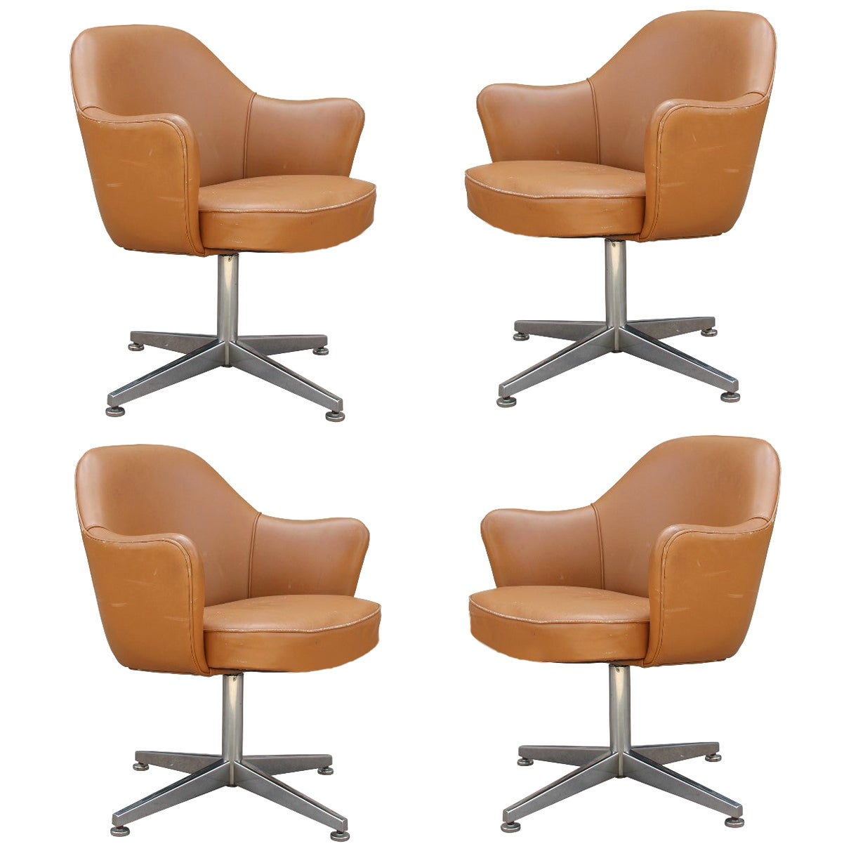 Modern Knoll Saarinen Attributed Executive Armchair in Saddle Leather