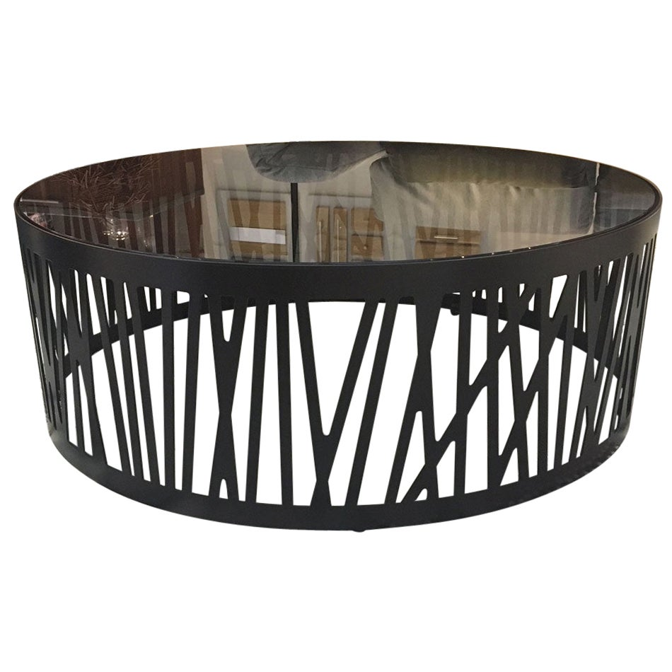 Contemporary Round Coffee Table with Smoked Black Glass Top & Metal under Frame