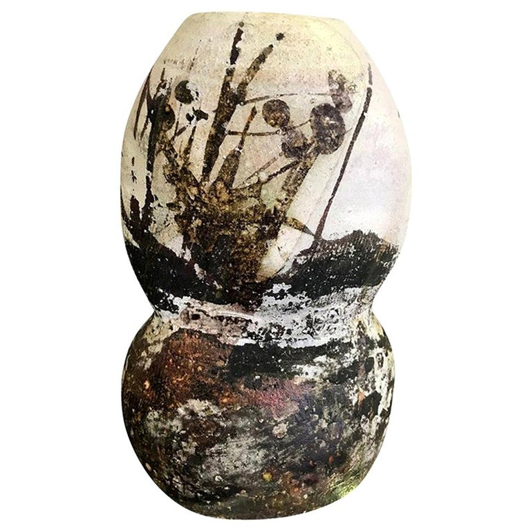 Paul Soldner Signed Large Raku Fired Mid-Century Modern Vessel Vase Sculpture For Sale