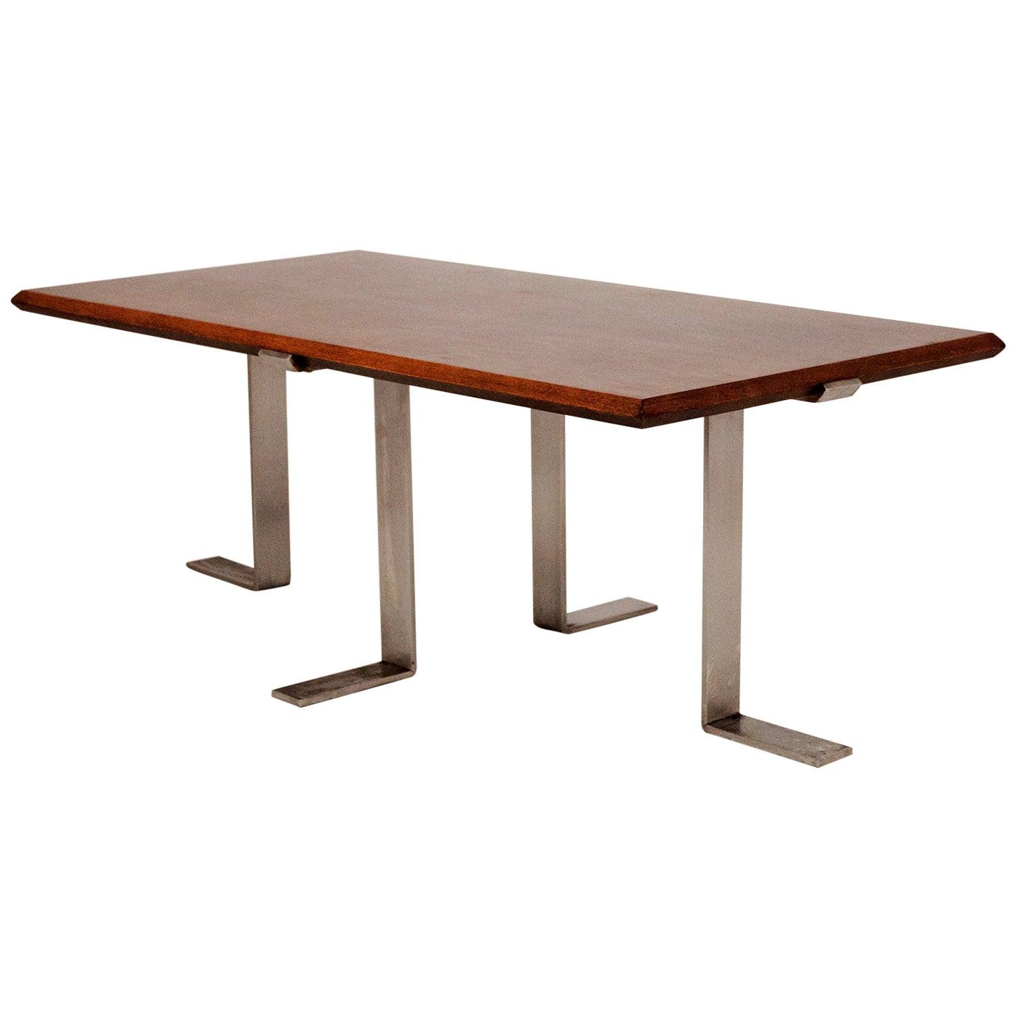 Jordi Vilanova Midcentury, Coffee Table, Walnut and Nickel-Plated Feet