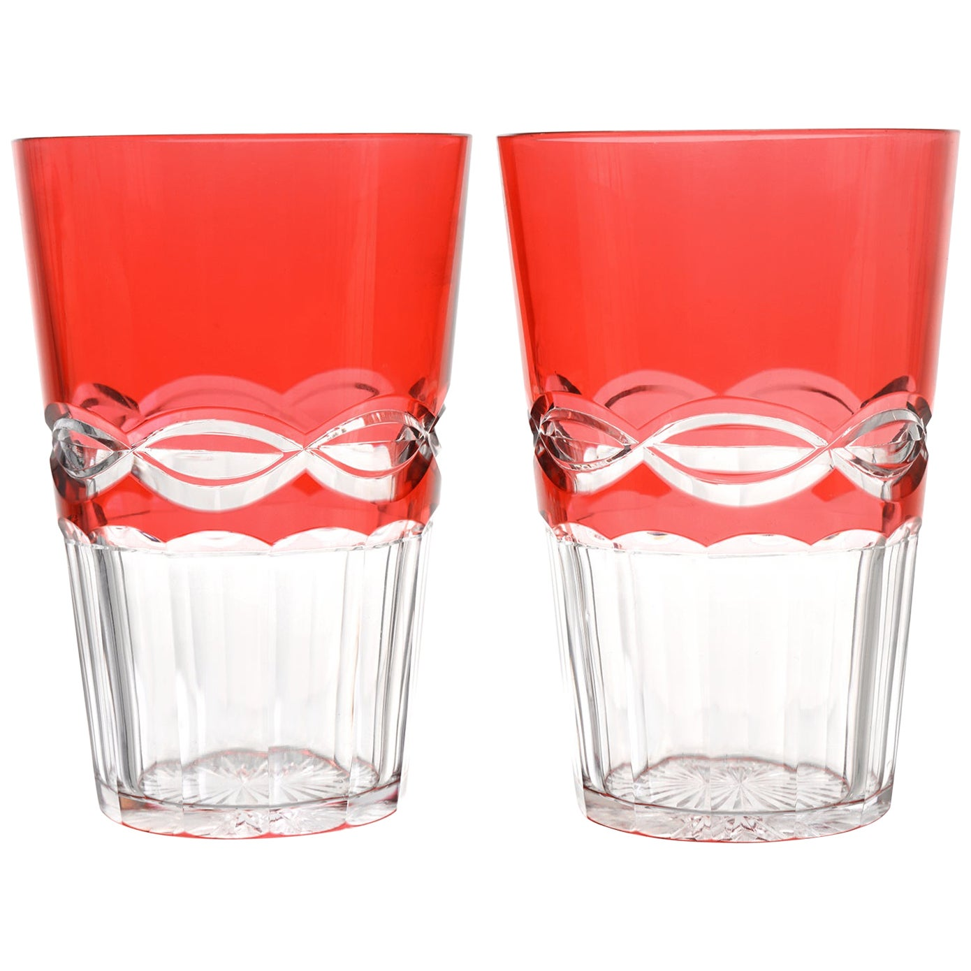 12 St. Louis Cranberry Crystal Tumblers