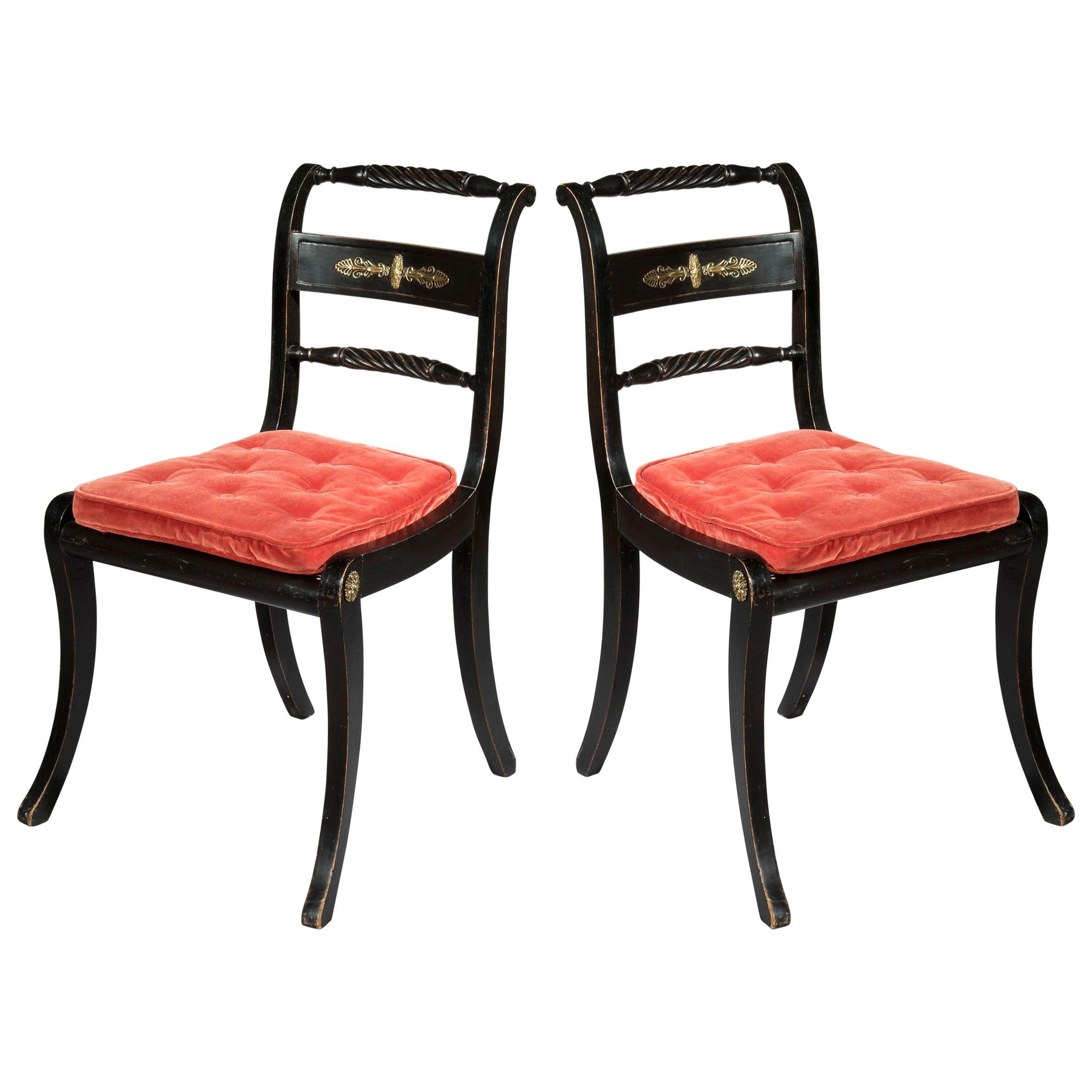 Antique Pair of Regency Black Painted Klismos Chairs
