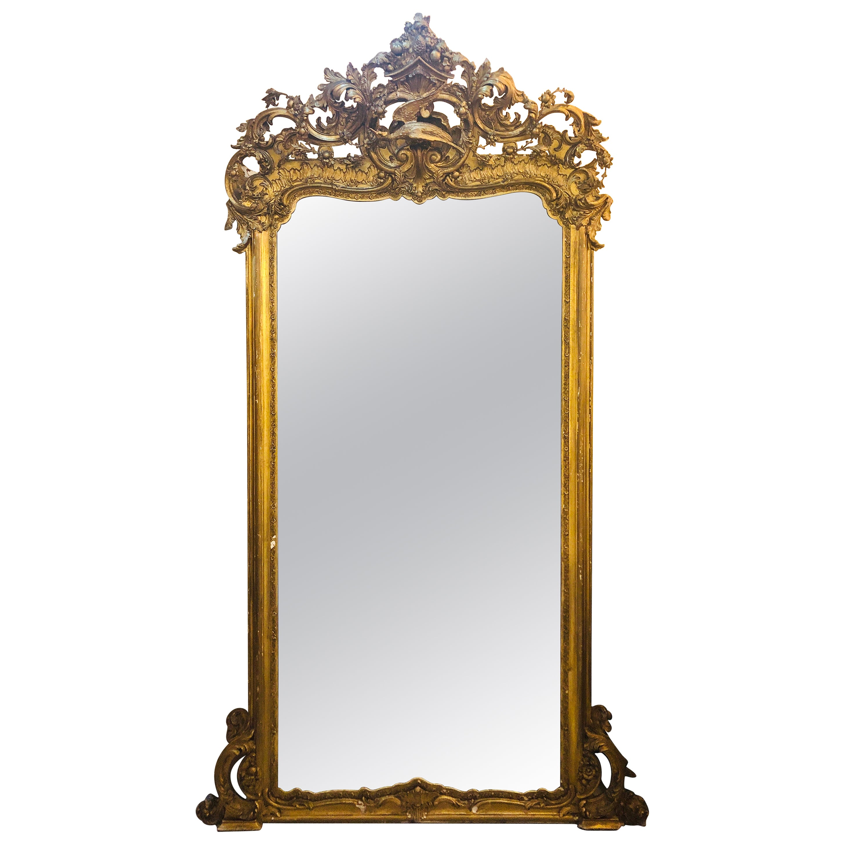 19th Century Carved Gilt Gold Pier, Console, Floor or over the Mantle Mirror