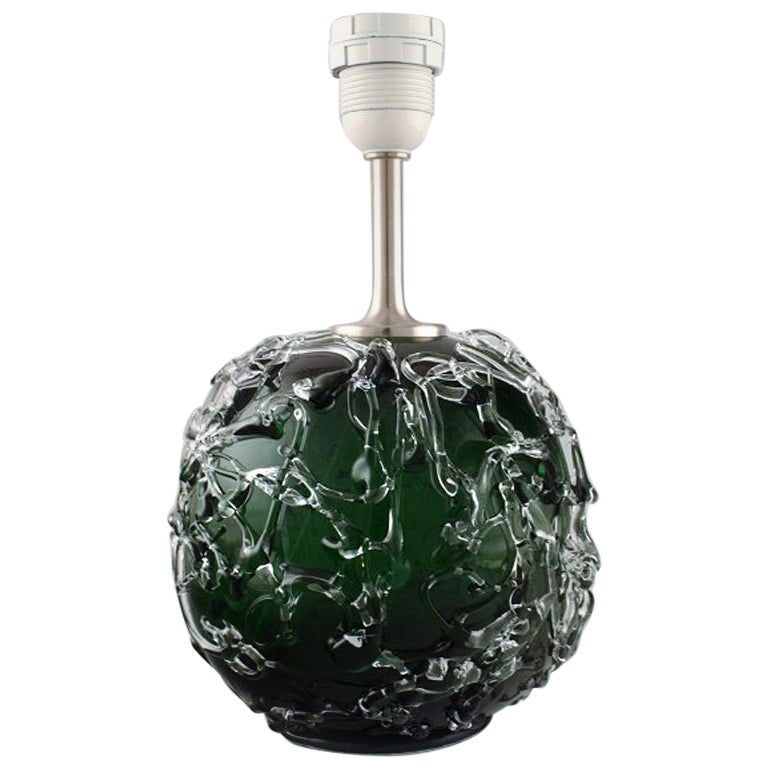 Kastrup / Holmegaard, Rare Round Table Lamp in Dark Green and Clear Art Glass