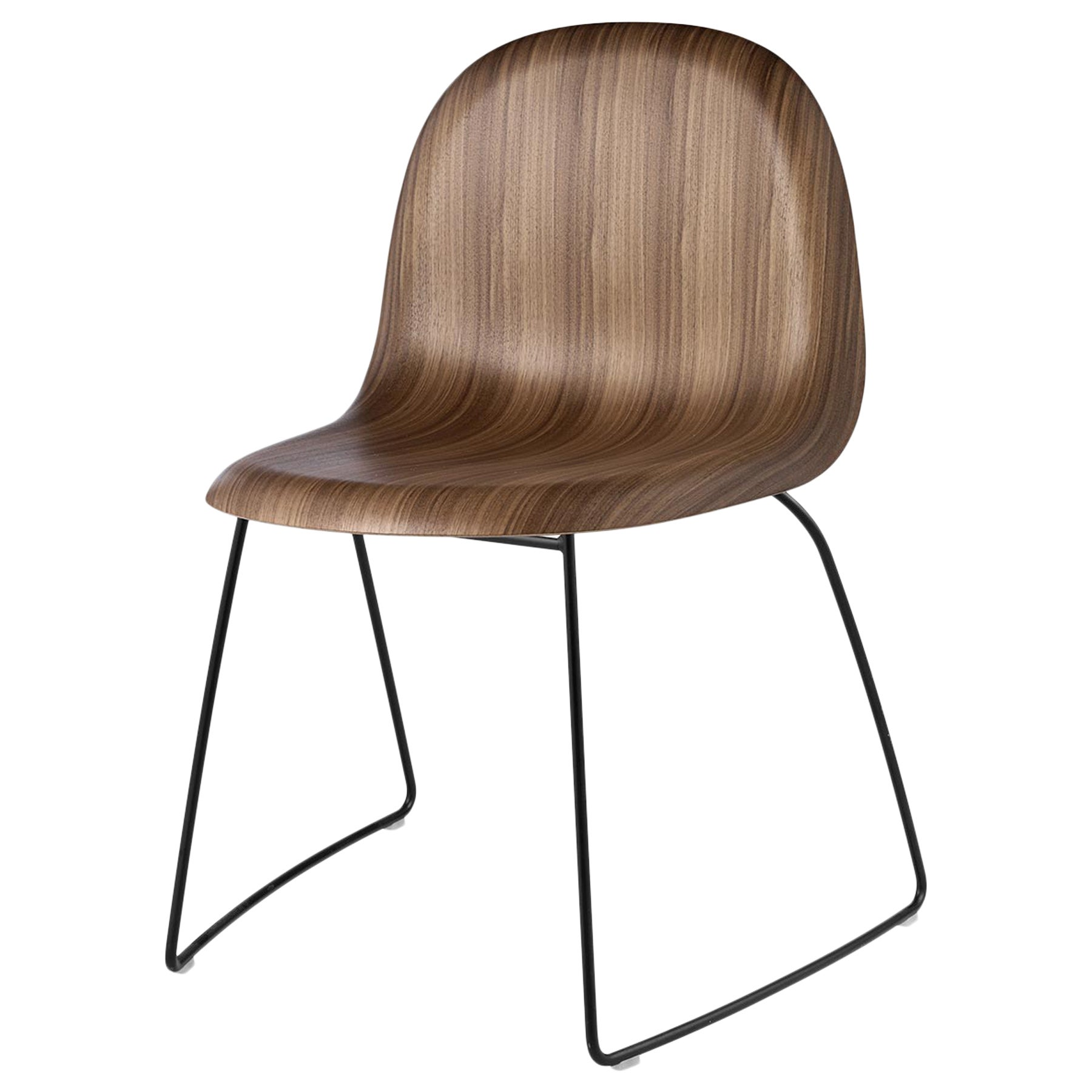 3D Dining Chair, Un-Upholstered, Sledge Base, Wood Shell