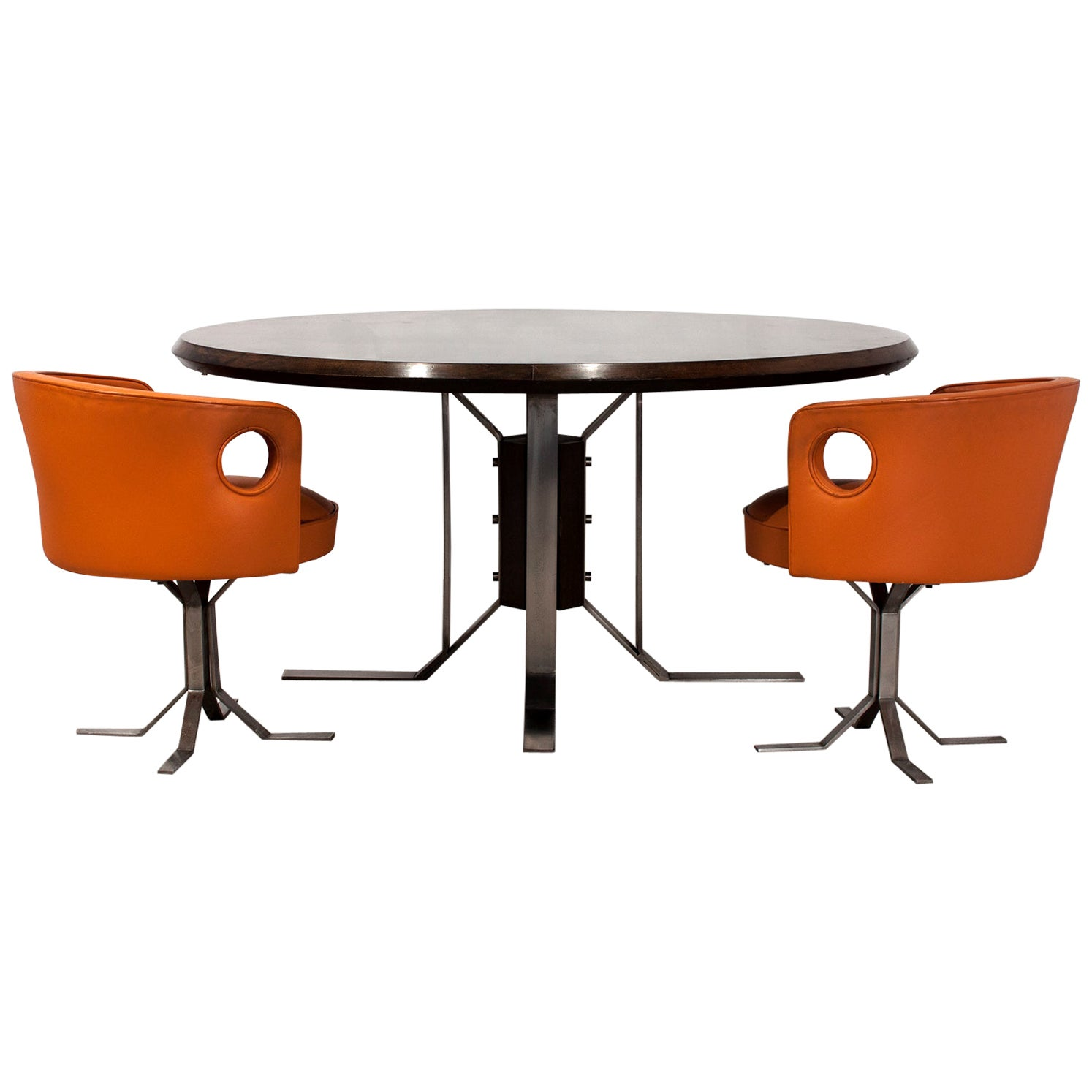 Jordi Vilanova Midcentury Walnut and Nickel-Plated Feet Round Dining Table 1970s