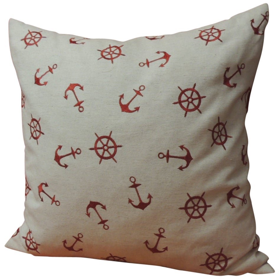 Red and Natural Embroidered Nautical Decorative Pillow