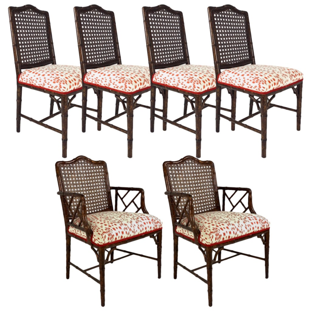 Set of 6 Upholstered Faux Bois Bamboo Chinese Chippendale Cane Dining Chairs