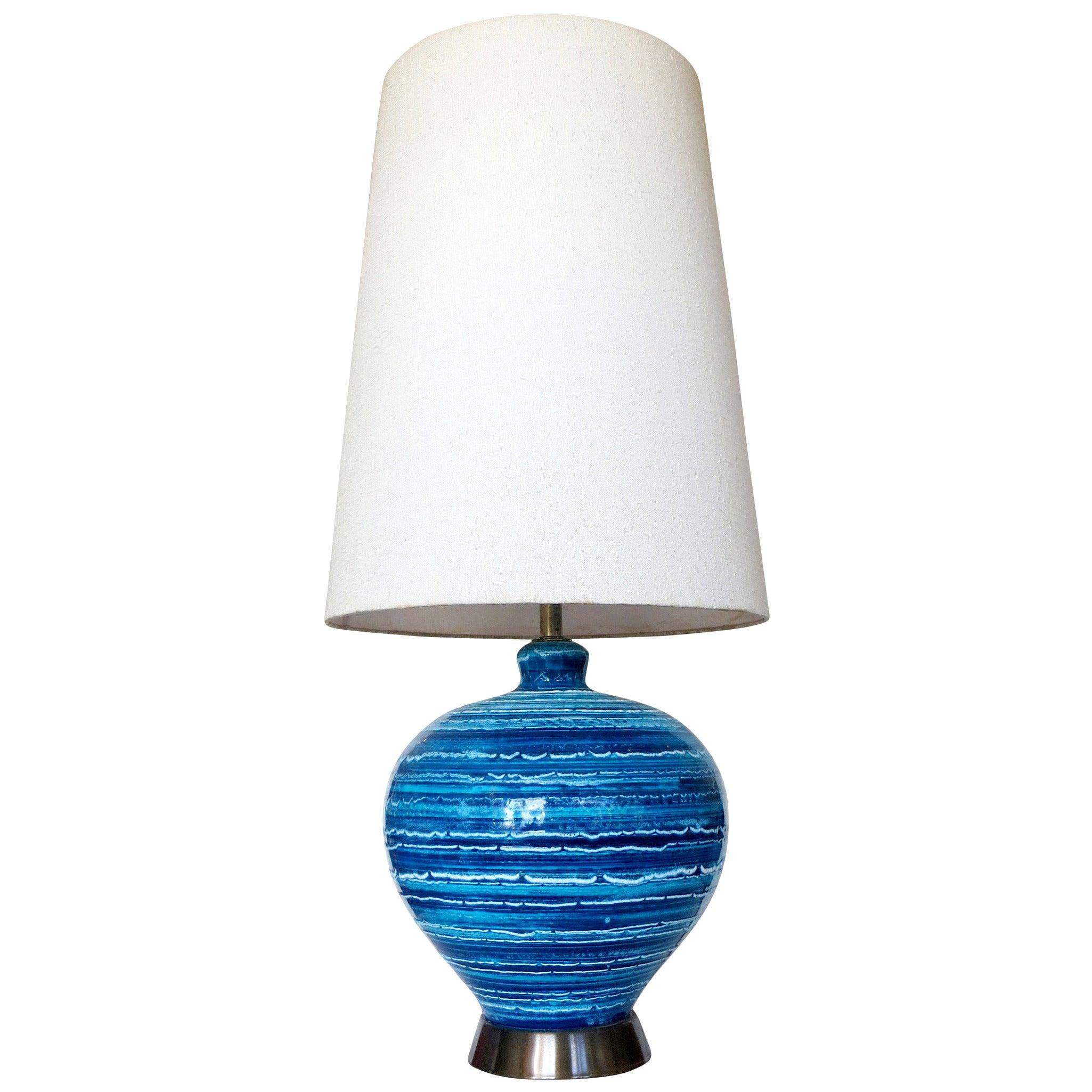 Midcentury Variegated Blue Striped Glaze Ceramic Lamp