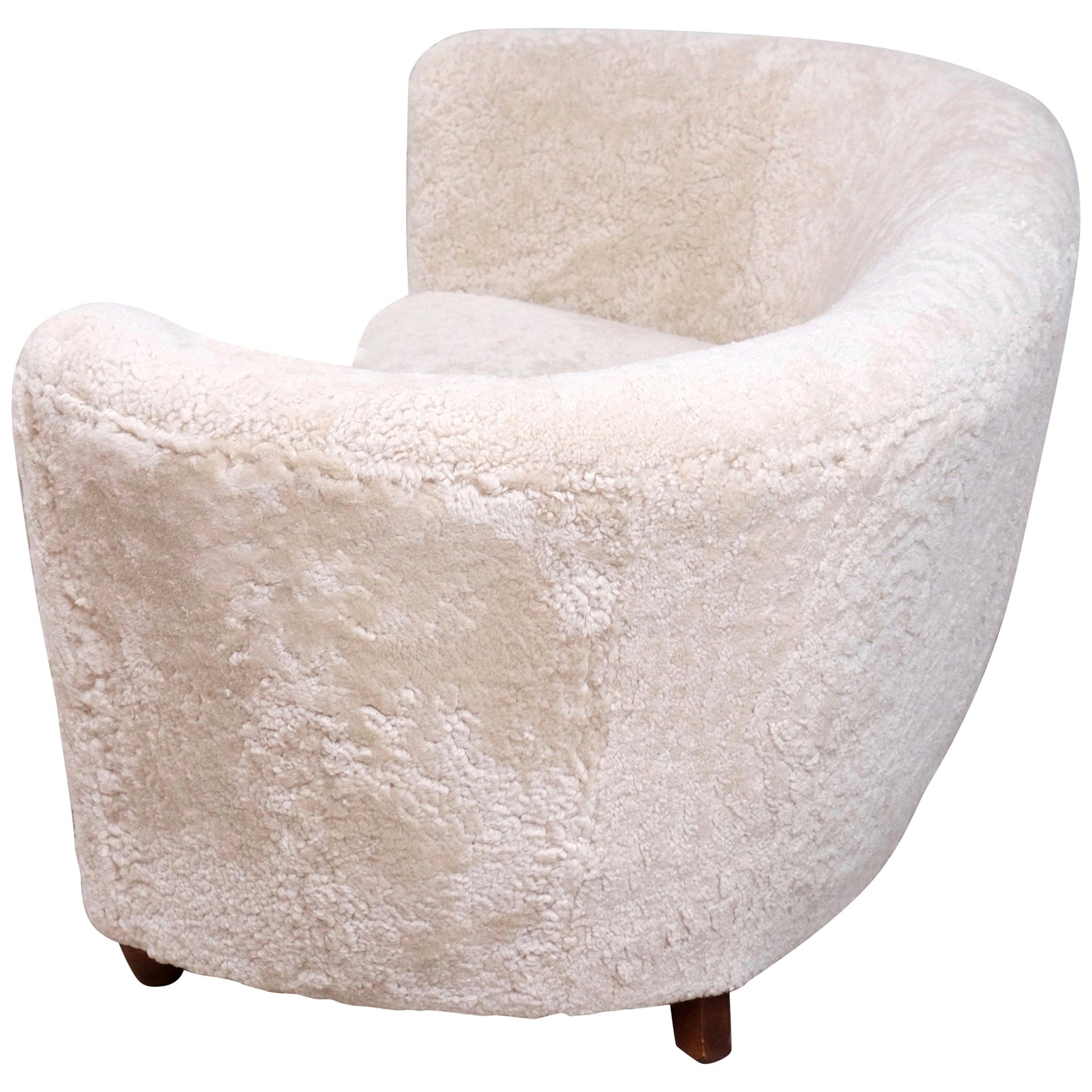 Curved Danish Sheepskin Sofa, 1940s