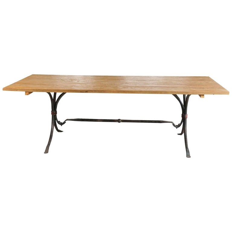 Teak Wood and Wrought Iron Indoor or Outdoor Dining Table For Sale