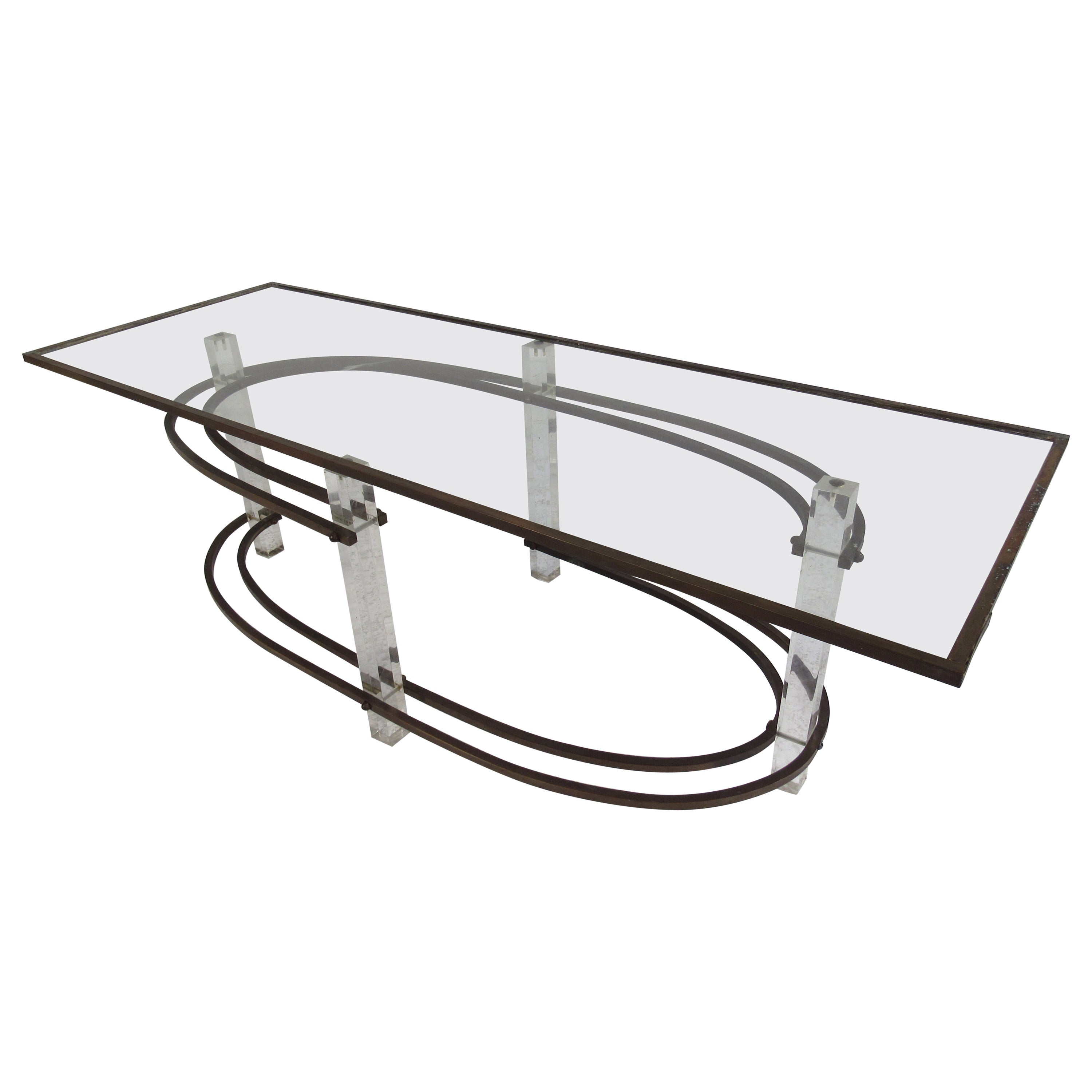 Vintage Hollywood Regency Lucite and Brass Coffee Table