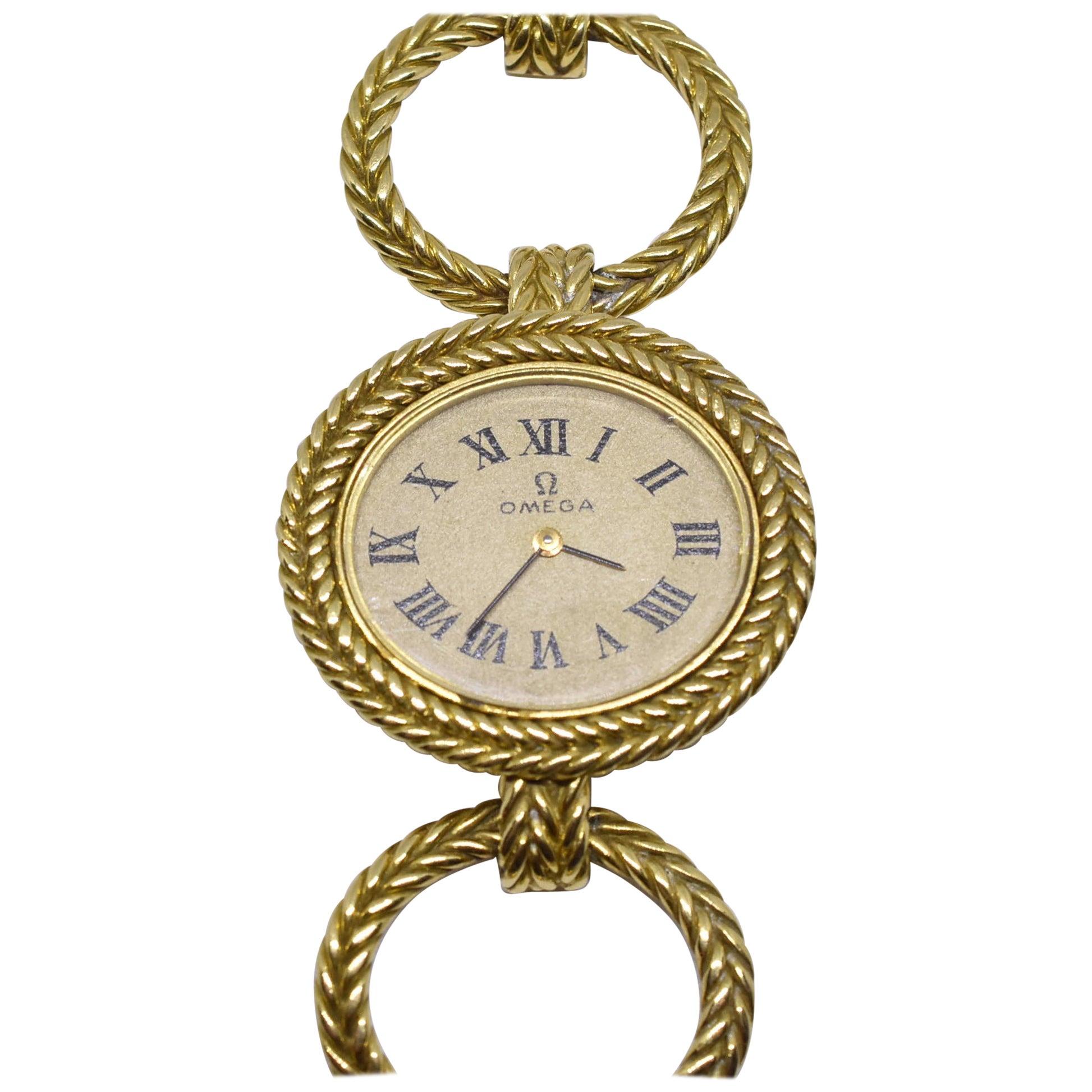 Omega Ladies Watch, 18-Karat Oval Gold Linked Bracelet Braided Design