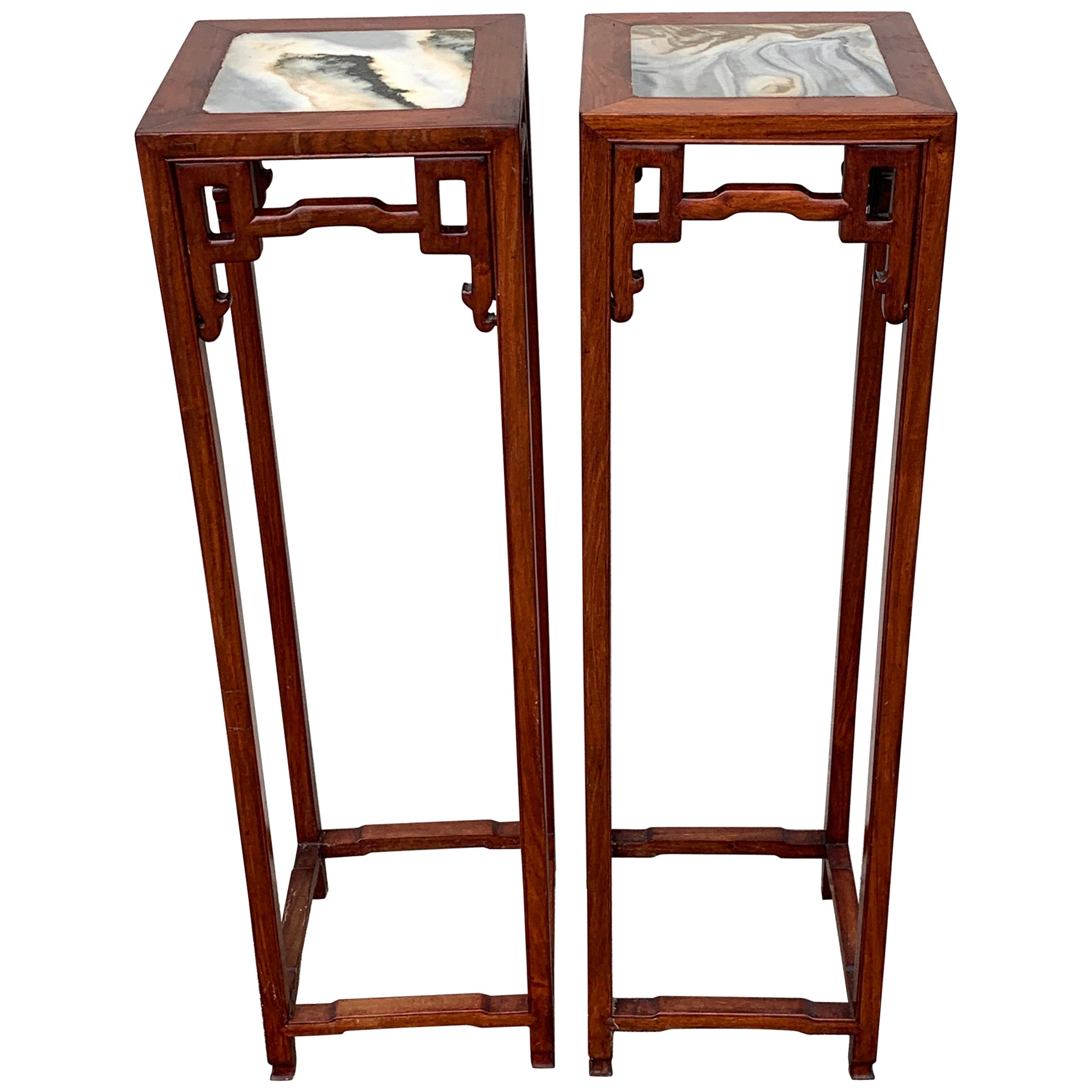 Pair of Chinese Export Hardwood and Marble Pedestals
