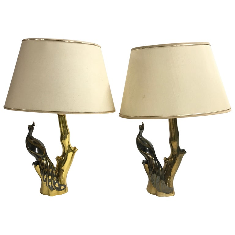 Vintage Brass Peacock Table Lamps by Willy Daro, 1970s For Sale