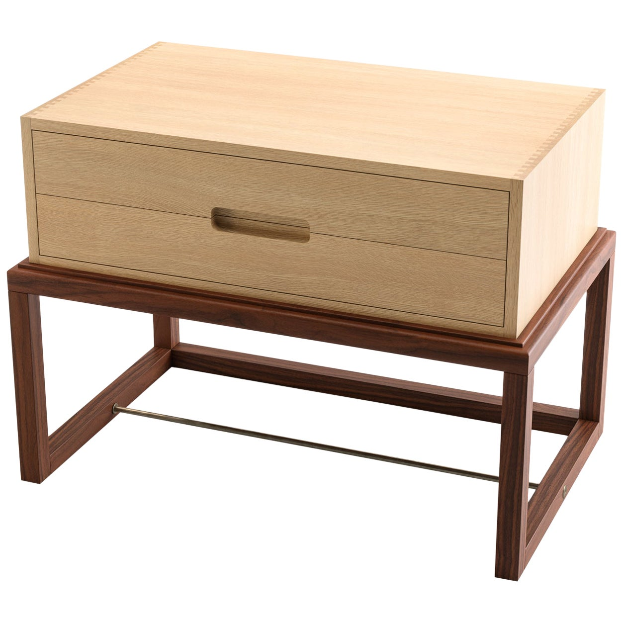 Oona Bedside or Side Table in Oak and Walnut with Antique Brass Fittings