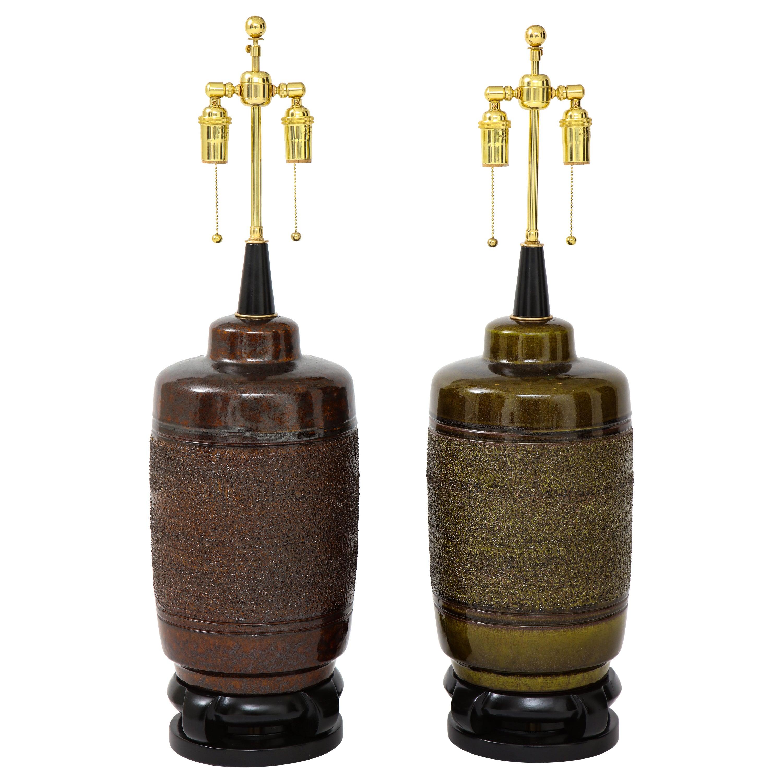 Pair of Large Paul Hanson Ceramic Lamps
