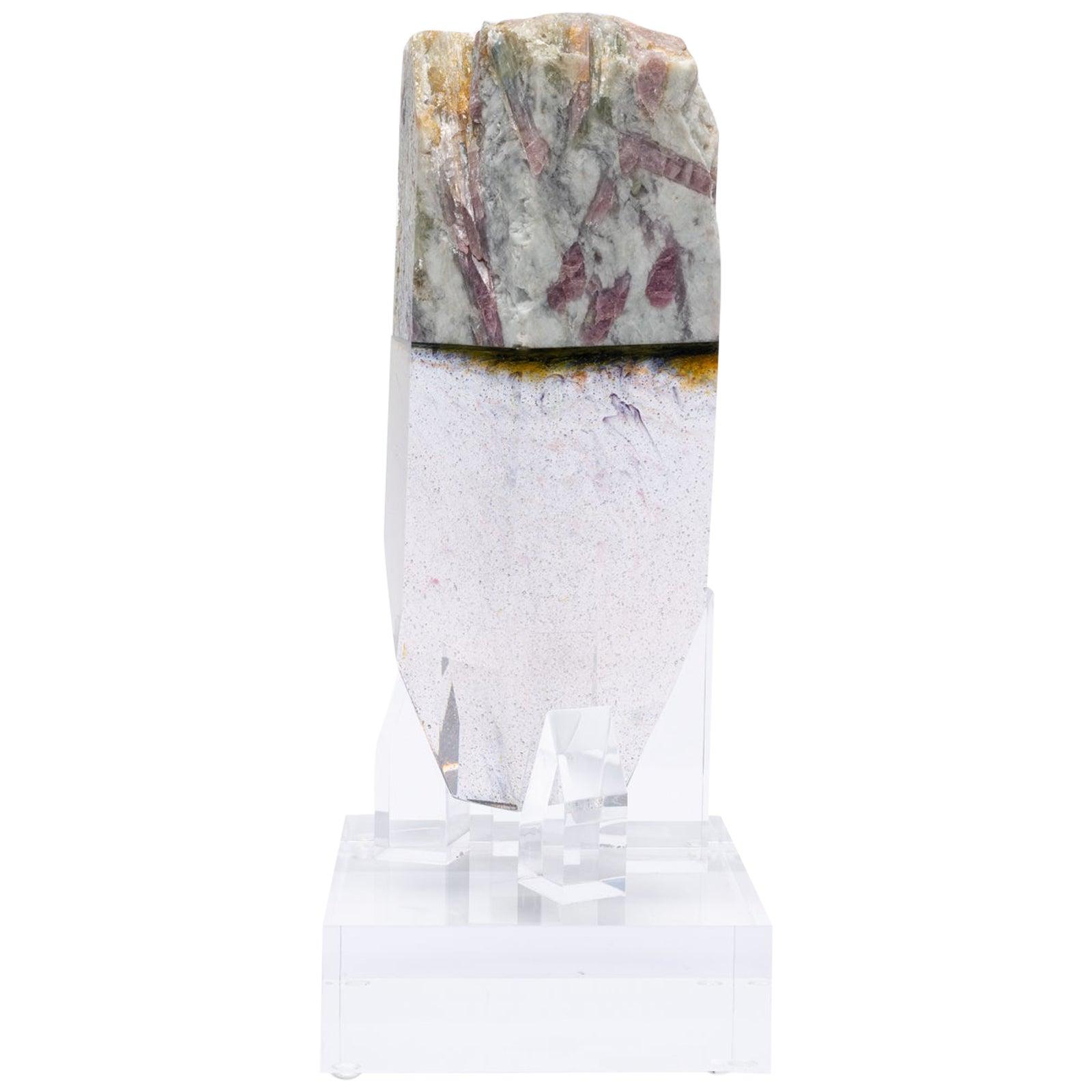 Watermelon Tourmaline and Quartz Organic Shape Glass Fusion Sculpture on Acrylic