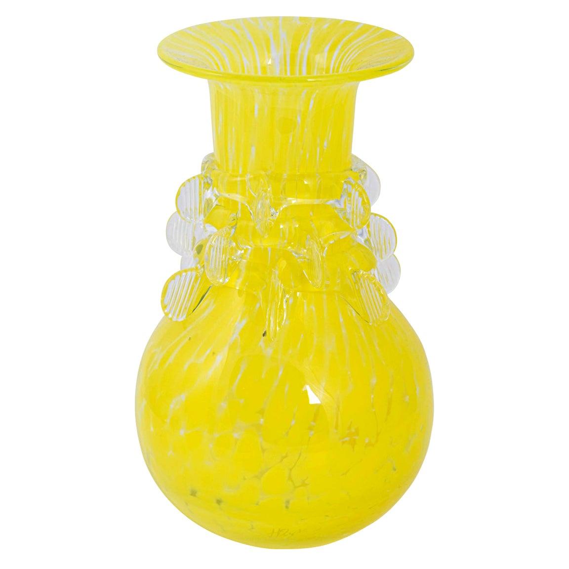 Hand Blown Yellow Glass Vase