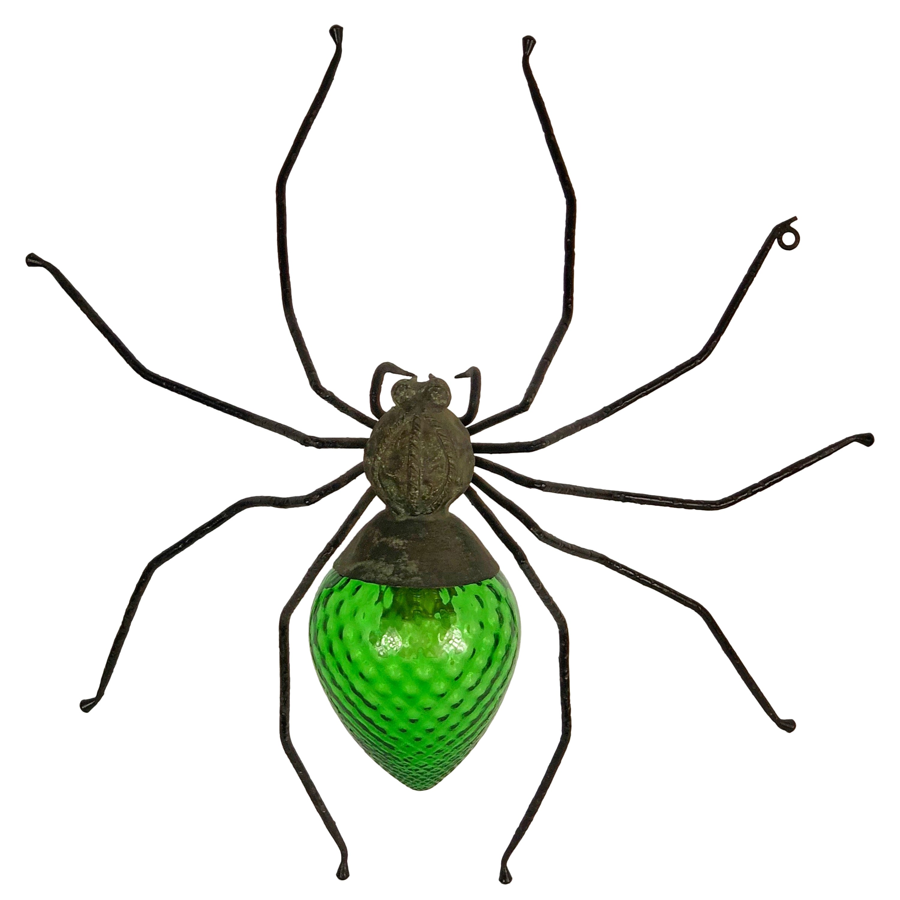 Green Spider in Iron and Art Glass Wall Table Lamp Sconces, Italy, 1960s