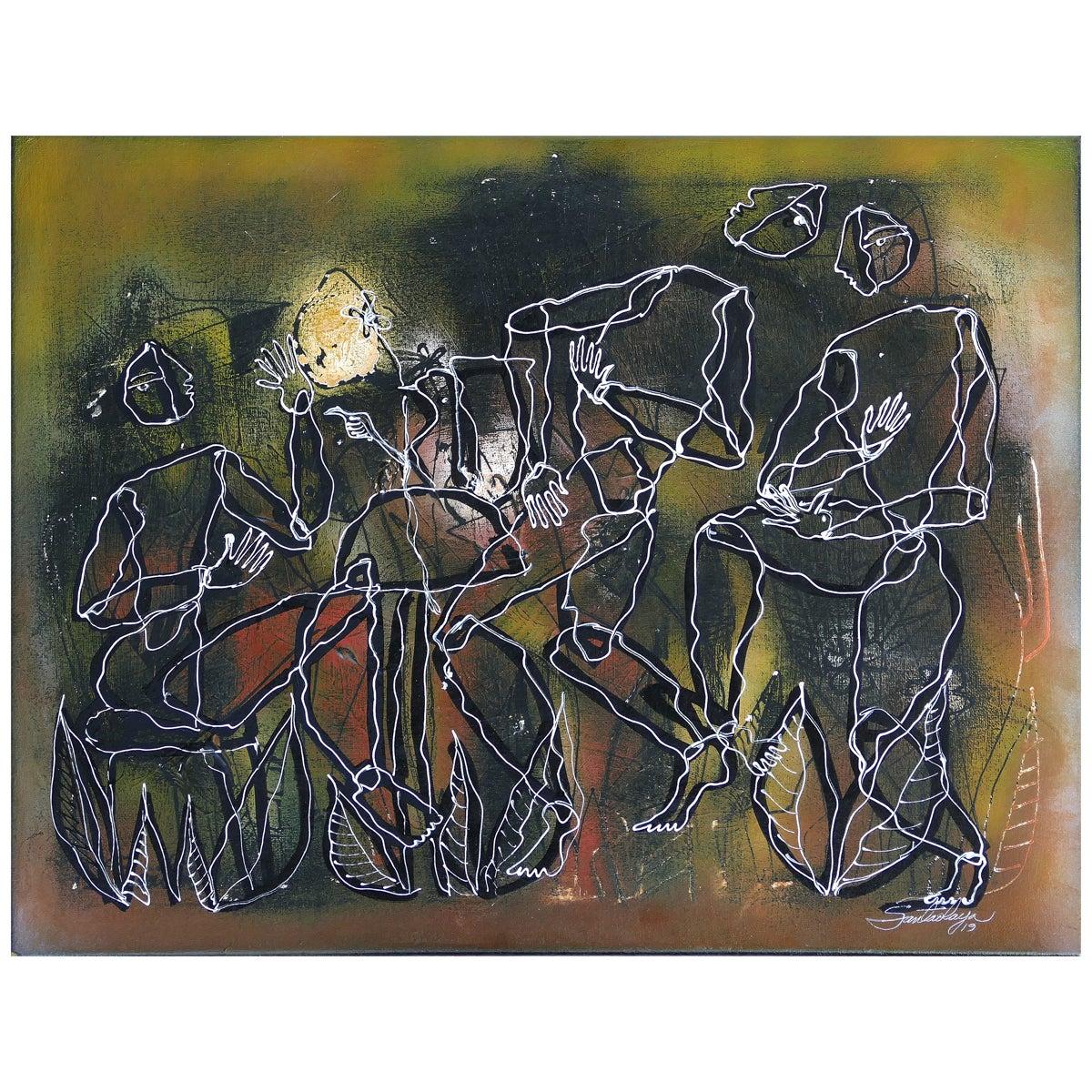 Hiremio Garcia Santaolaya Abstract Painting, Cuban American Artist