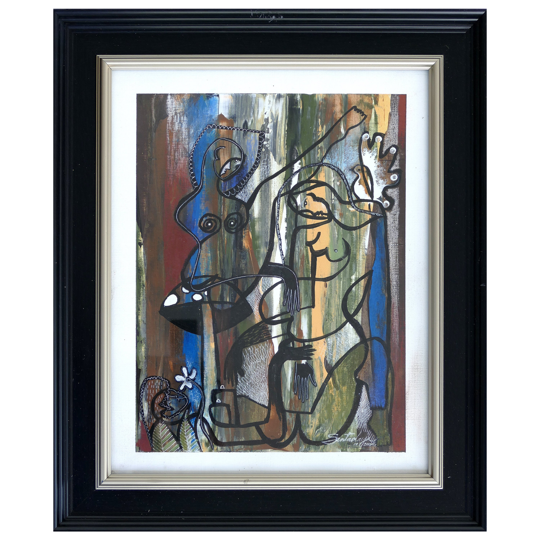 Hiremio Garcia Santaolaya Abstract Painting, Cuban American Art