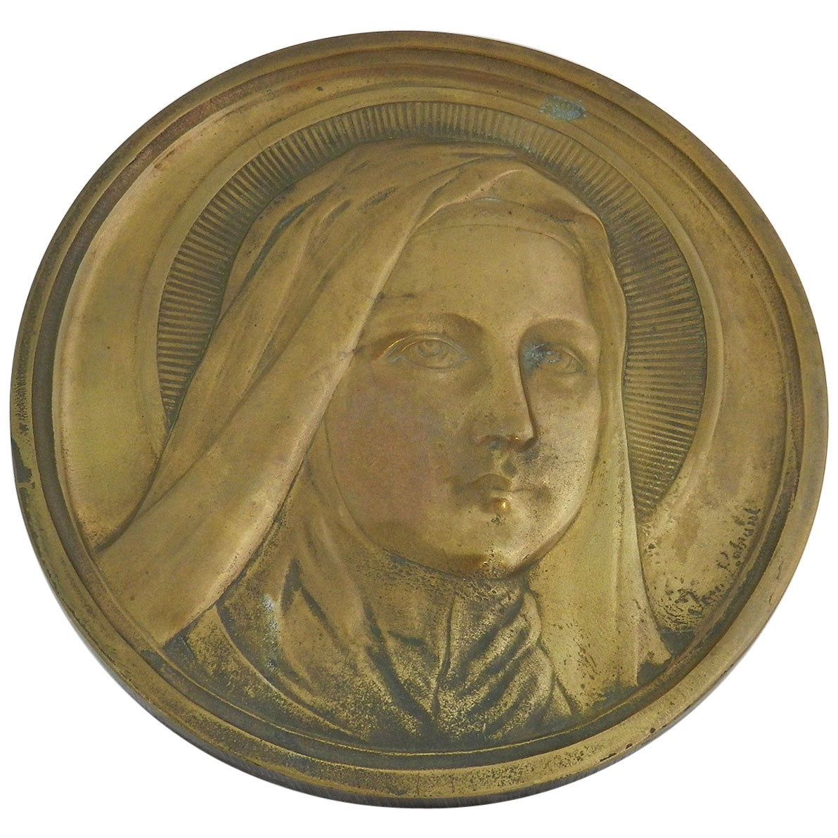 Mary Bronze Wall Plaque Sculpture Signed Medallion French Early 20th Century