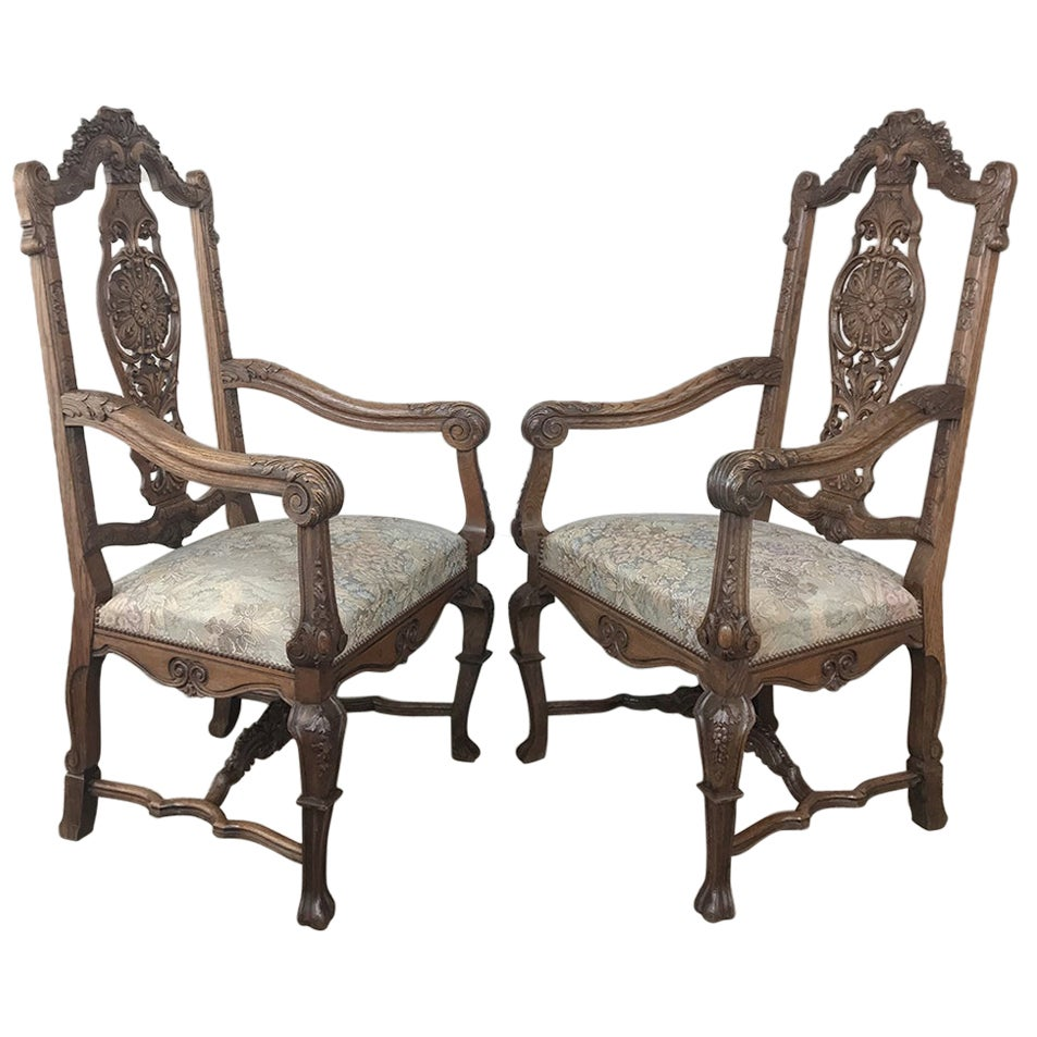 Pair 19th Century Liegoise Louis XIV Armchairs