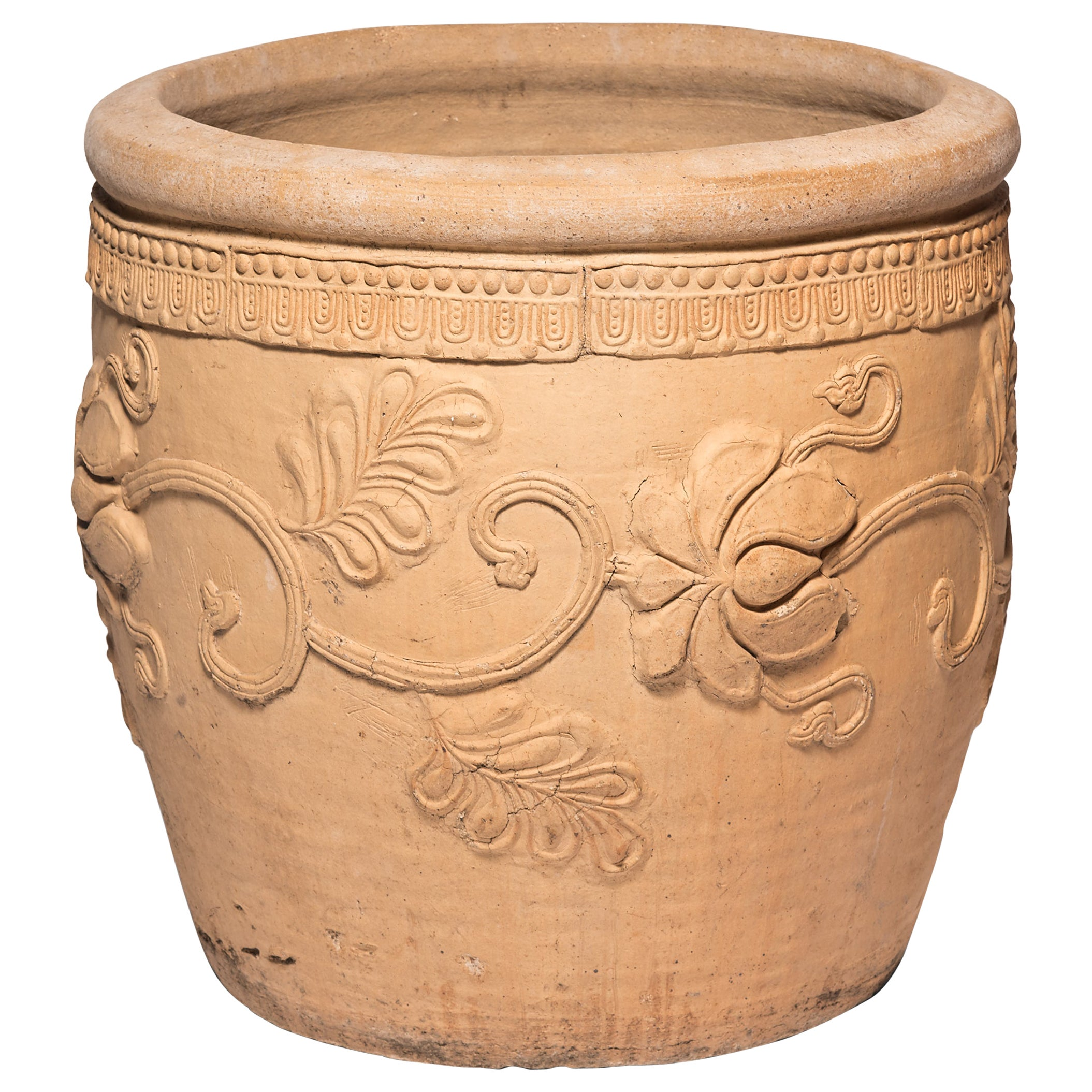 19th Century Chinese Floral Relief Urn