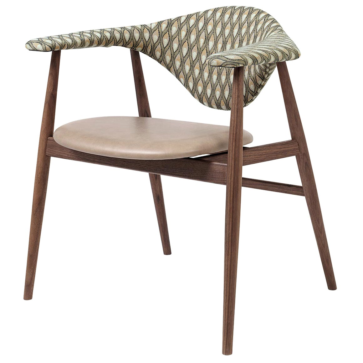 Masculo Dining Chair, Fully Upholstered, Smoked Oak Base