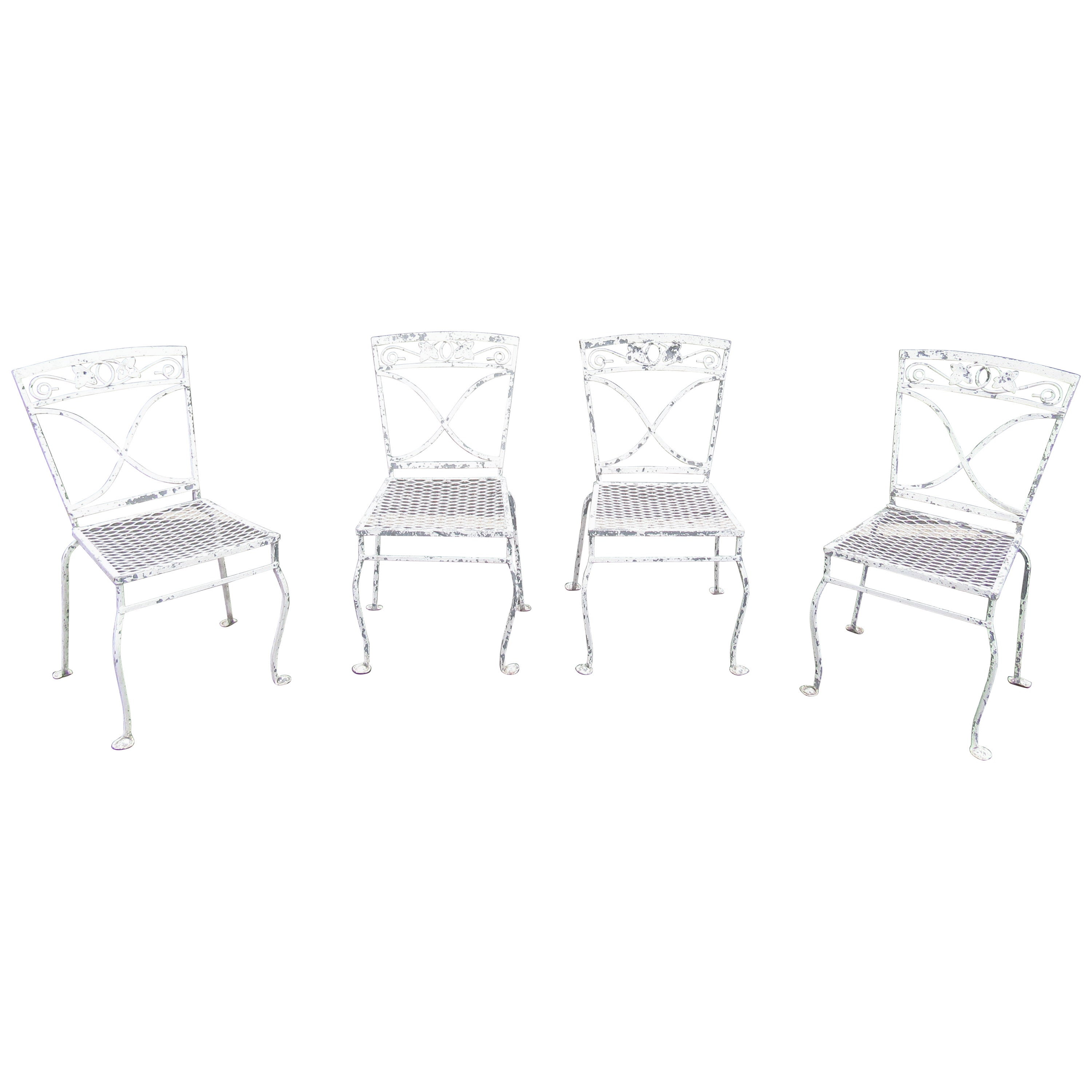 Vintage Iron Patio Dining Chairs, Set of 4