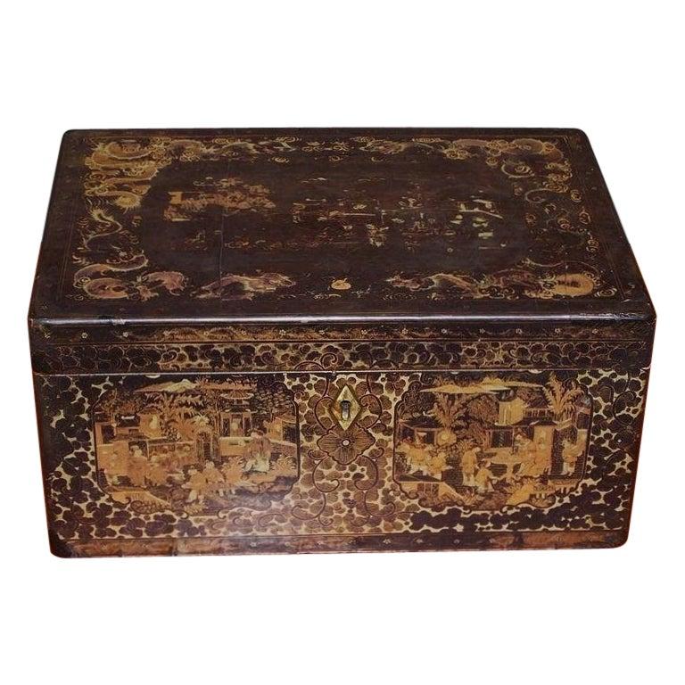 English Black Lacquered and Gilt Stenciled Figural Pagoda Tea Box, Circa 1810