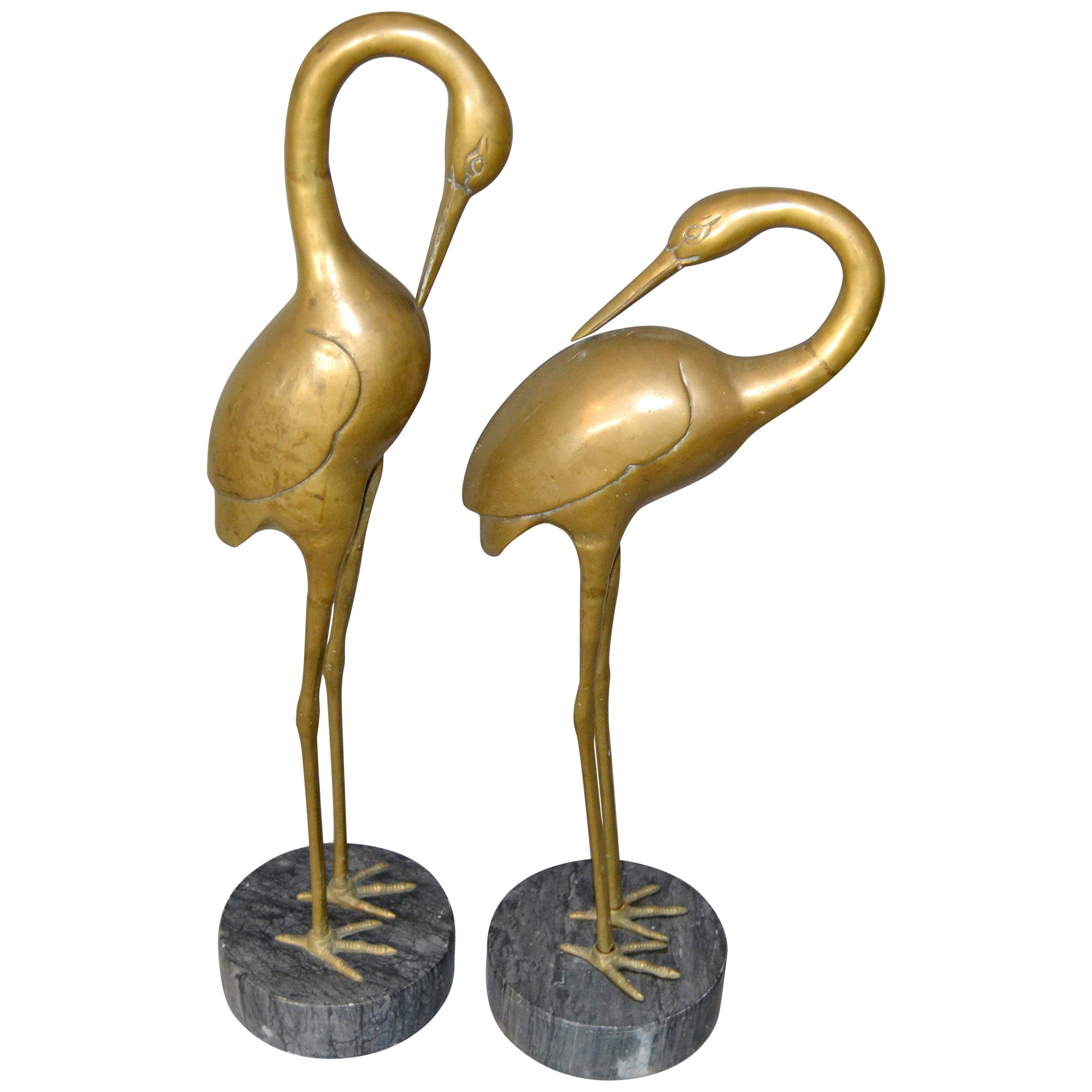Hollywood Regency Asian Style Bronze Crane Sculptures Gray Marble Base - A Pair