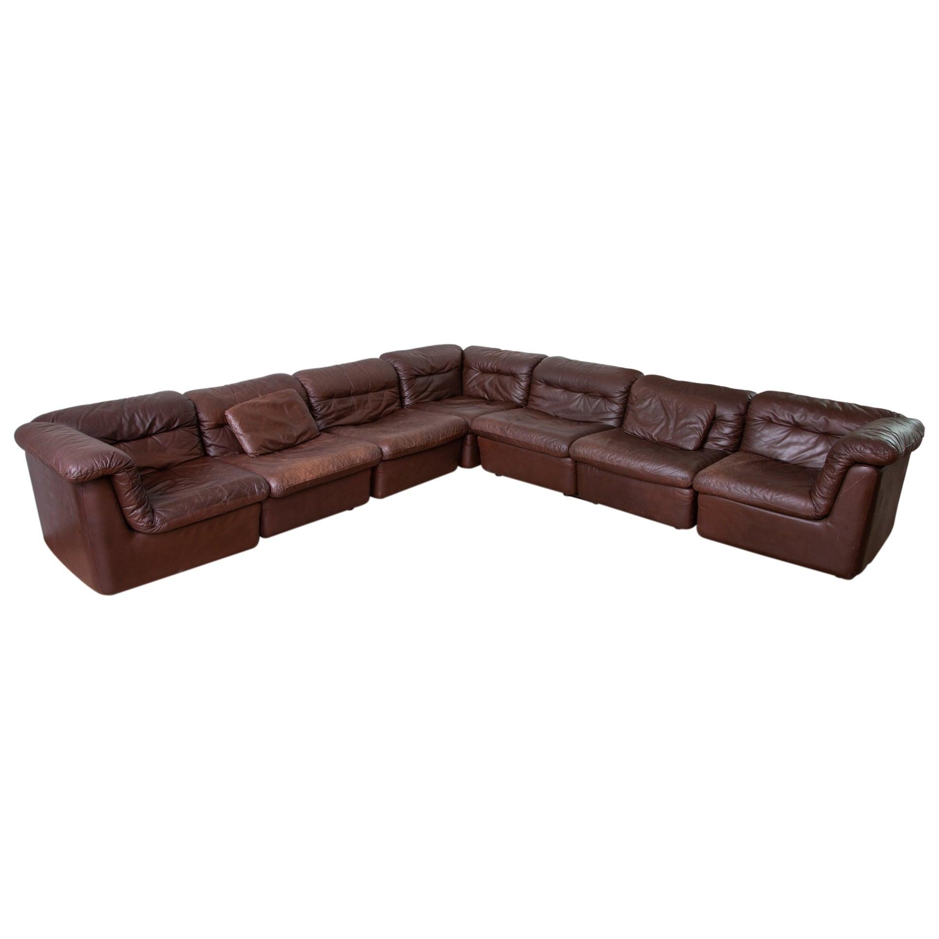 WK Möbel Modular Brown Leather Sofa by Ernst Martin Dettinger