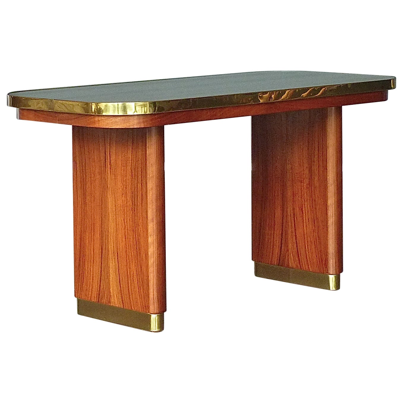 Italian Midcentury Couch Side Table Gio Ponti Style Walnut Brass Mirror Glass