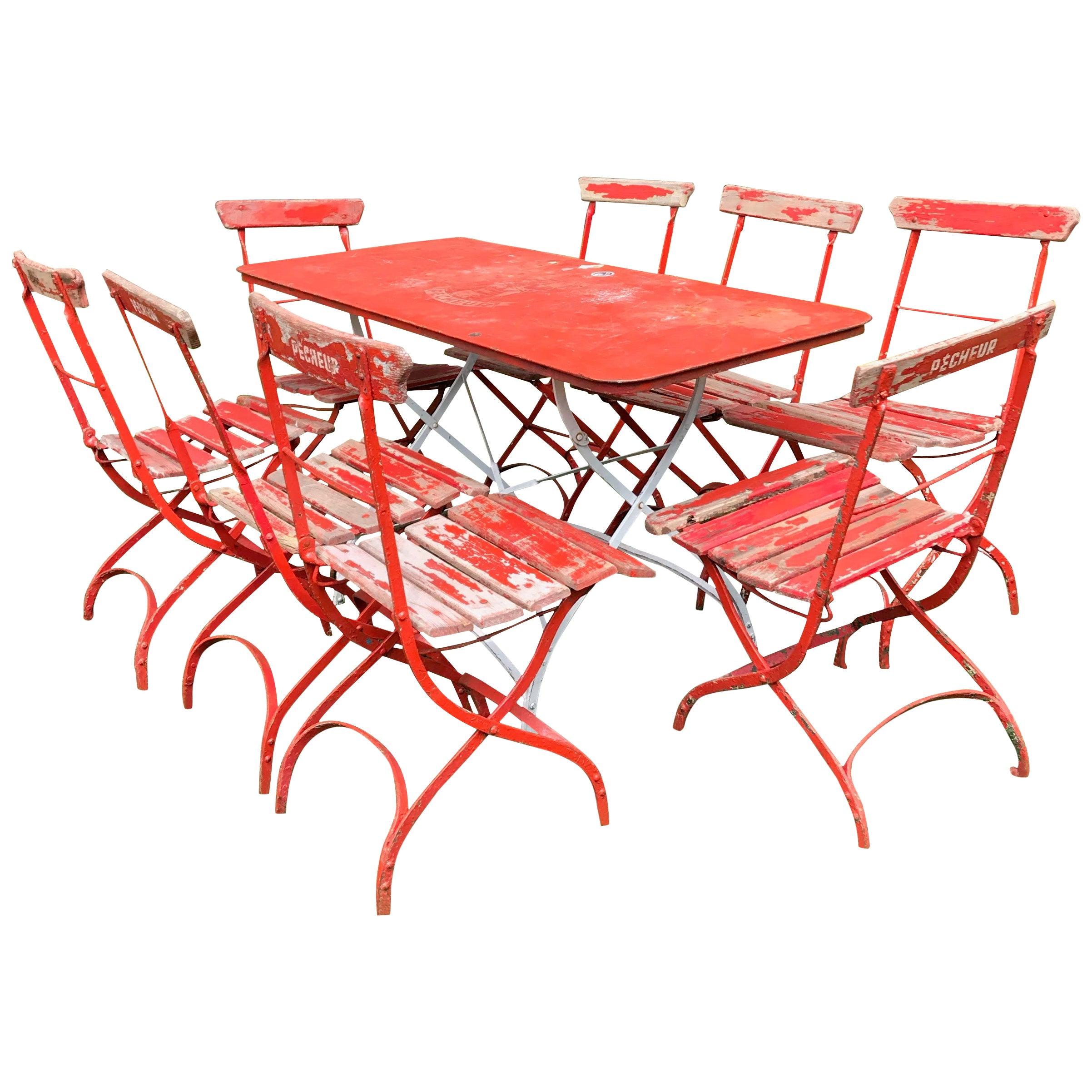 """French Wrought Iron and Oak Folding Dining Suite for Eight, Marked """"Pecheur"""""""