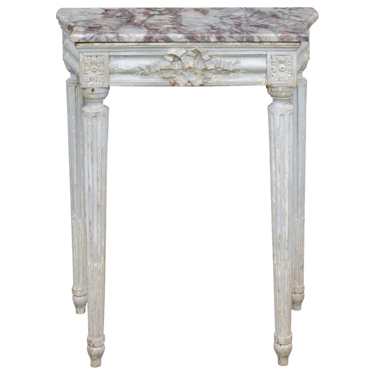 French Neoclassical Period 1800s Painted Wood Console Table with Marble Top