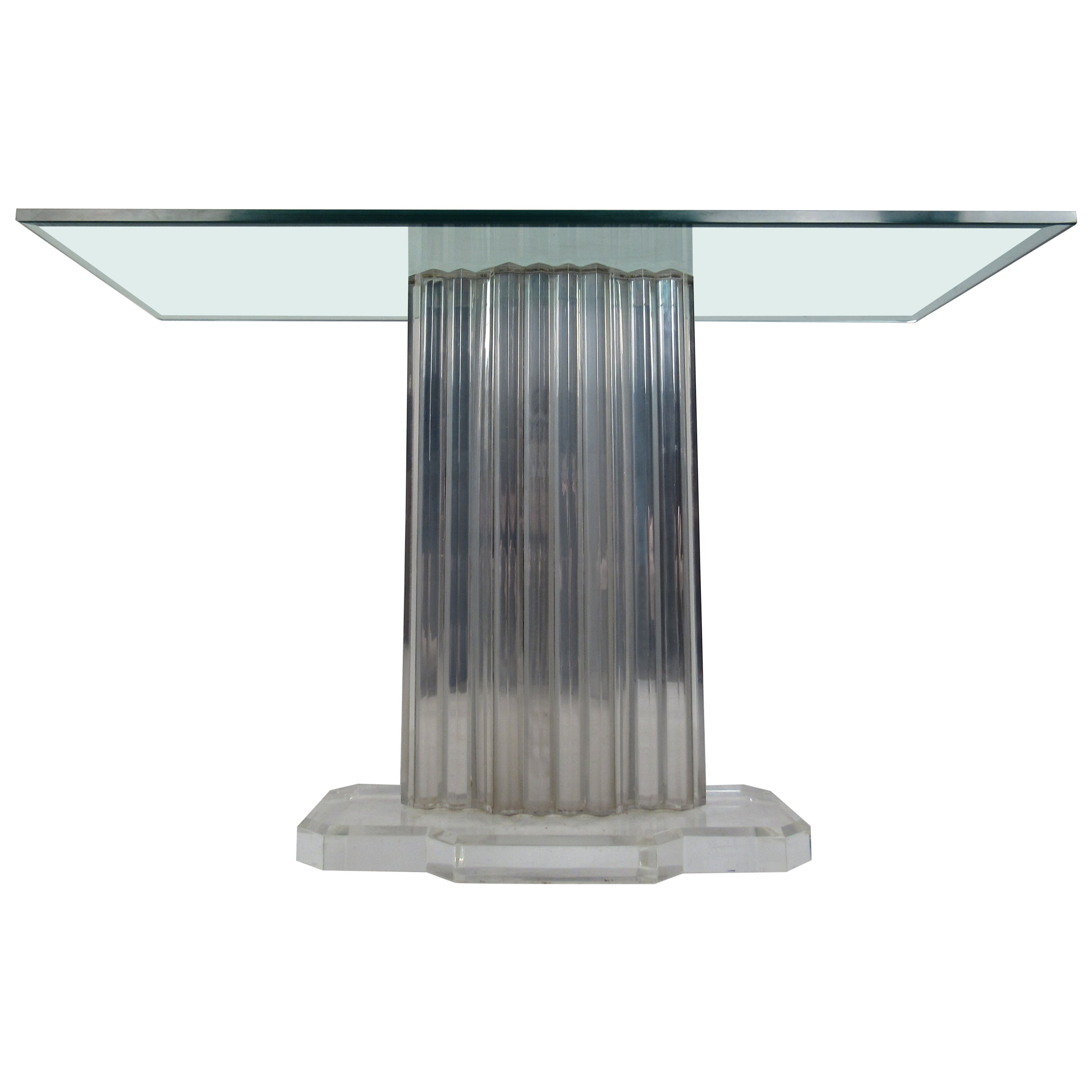 Mid-Century Modern Lucite Pedestal Console Table