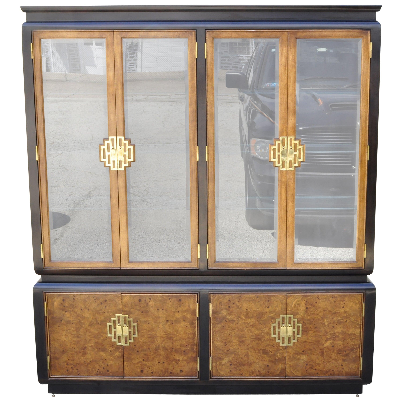 Century Furniture Chin Hua Burl Wood Oriental China Display Cabinet Hutch