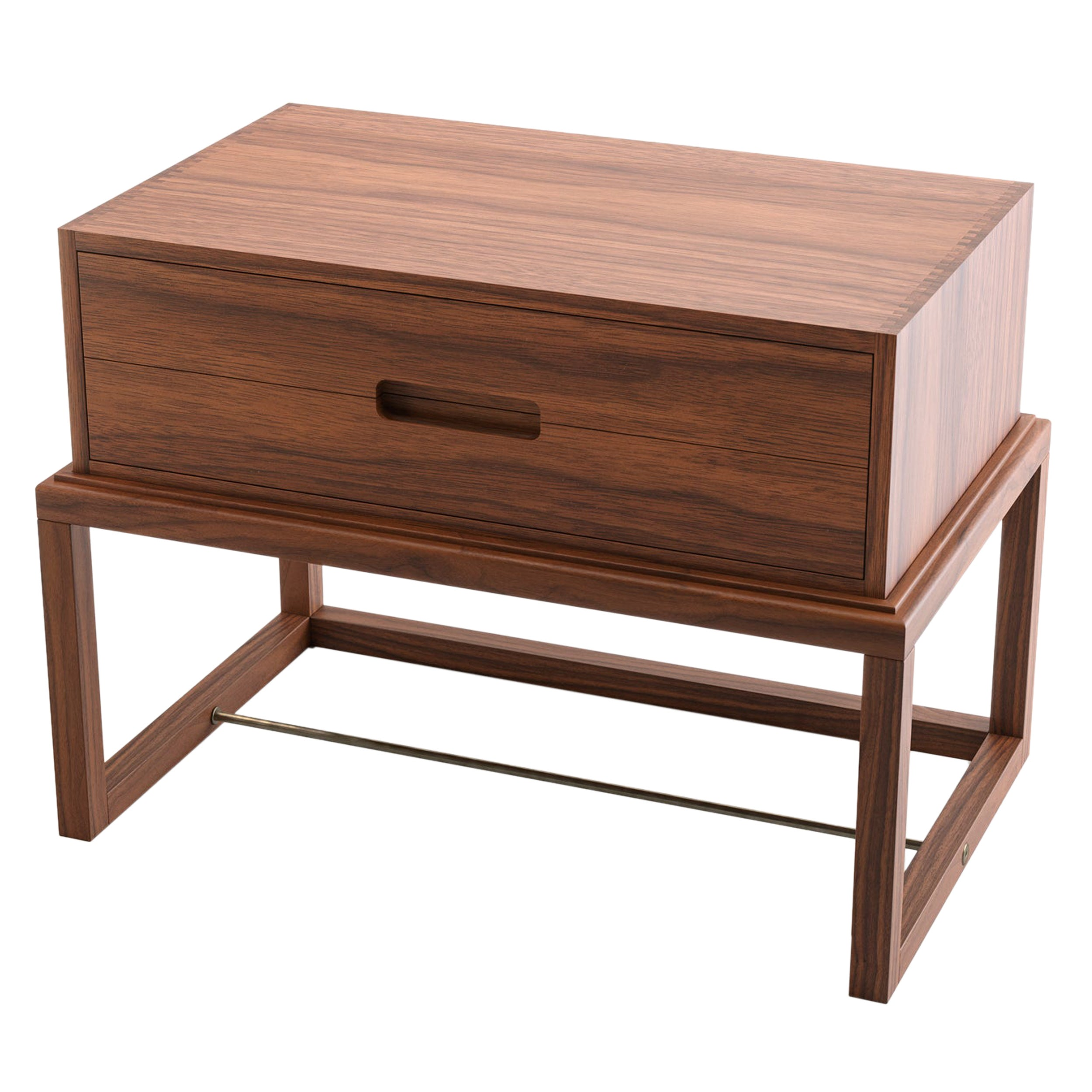 Oona Bedside or Side Table in Medium Walnut with Antique Brass Fittings