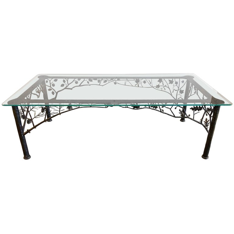"""Four Seasons"" Sculptural Wrought Iron Dining Table by Dereck Glaser For Sale"